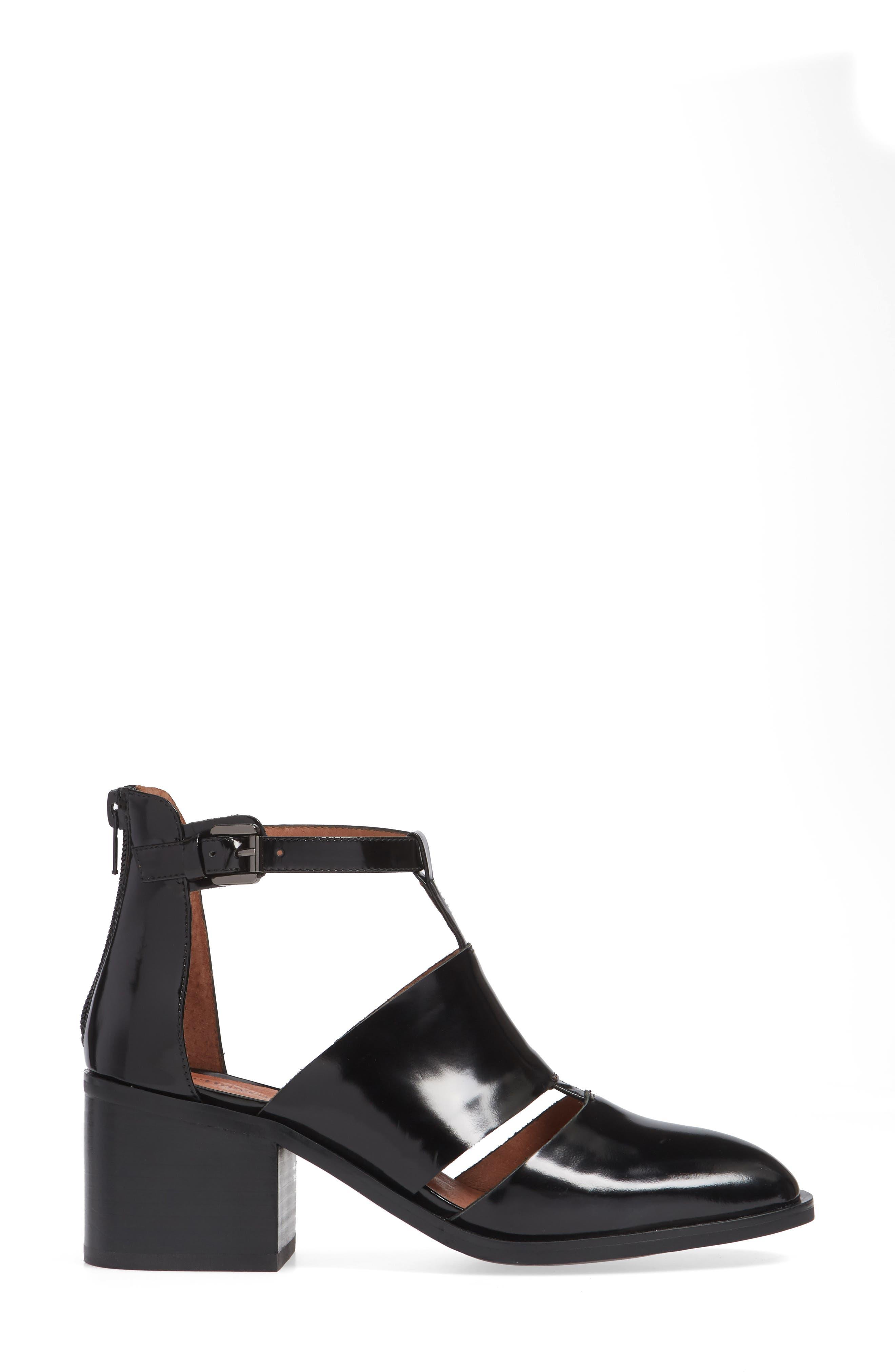 'Melina' T-Strap Shoe,                             Alternate thumbnail 5, color,                             Black Leather