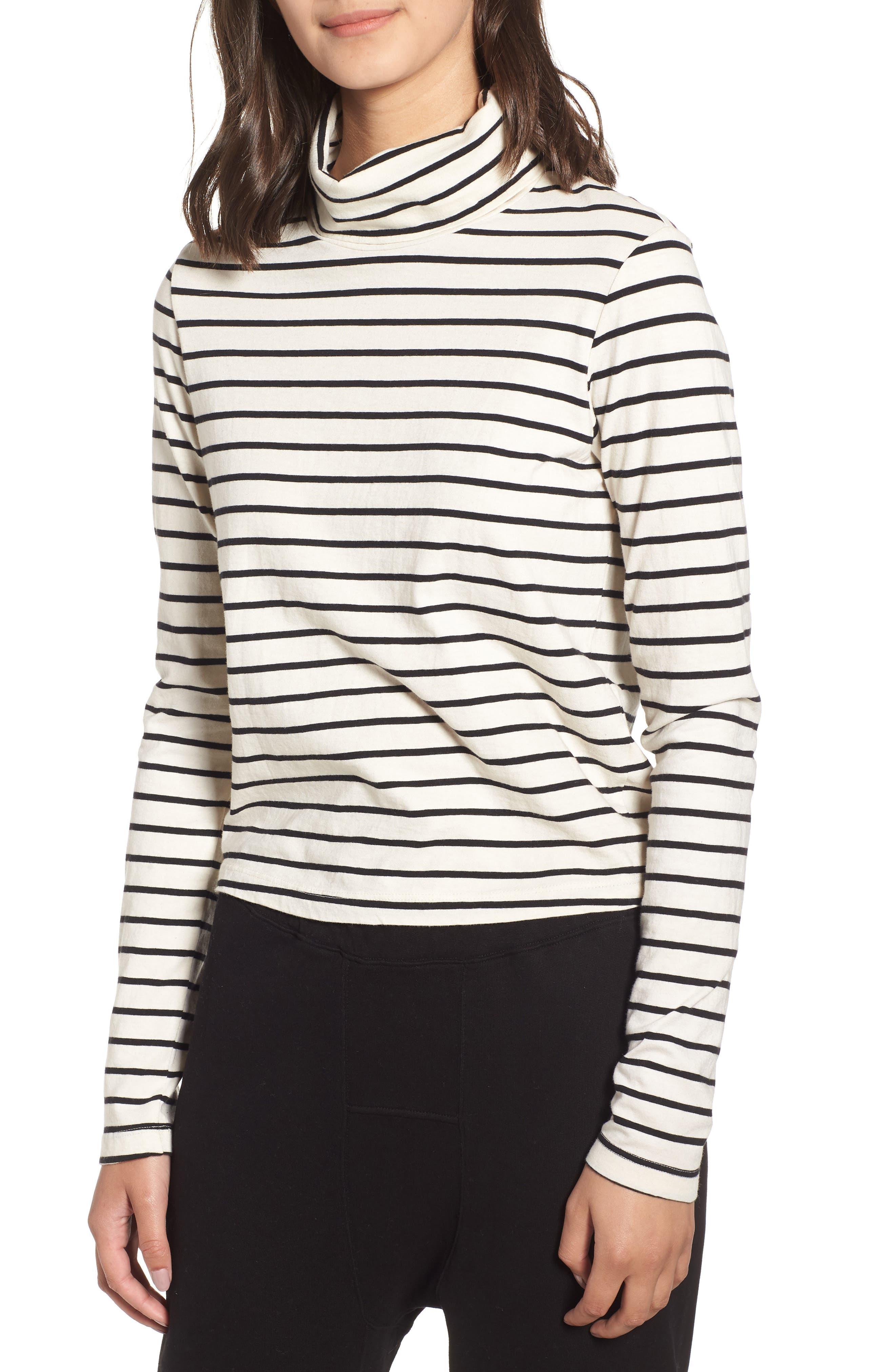 Stripe Mock Neck Sweater,                             Main thumbnail 1, color,                             Black/ Cream
