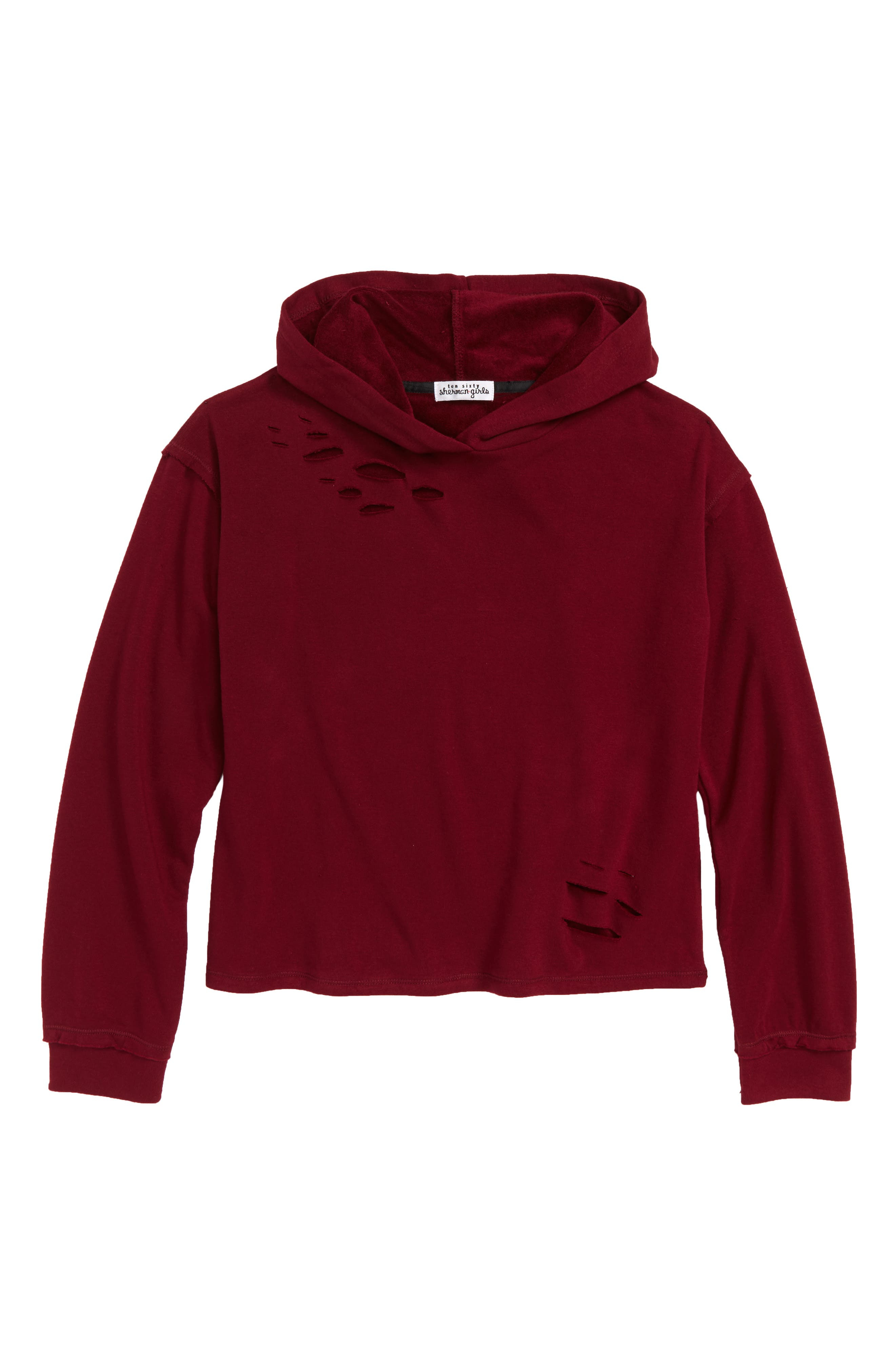 Destructed Hoodie,                             Main thumbnail 1, color,                             Burgundy