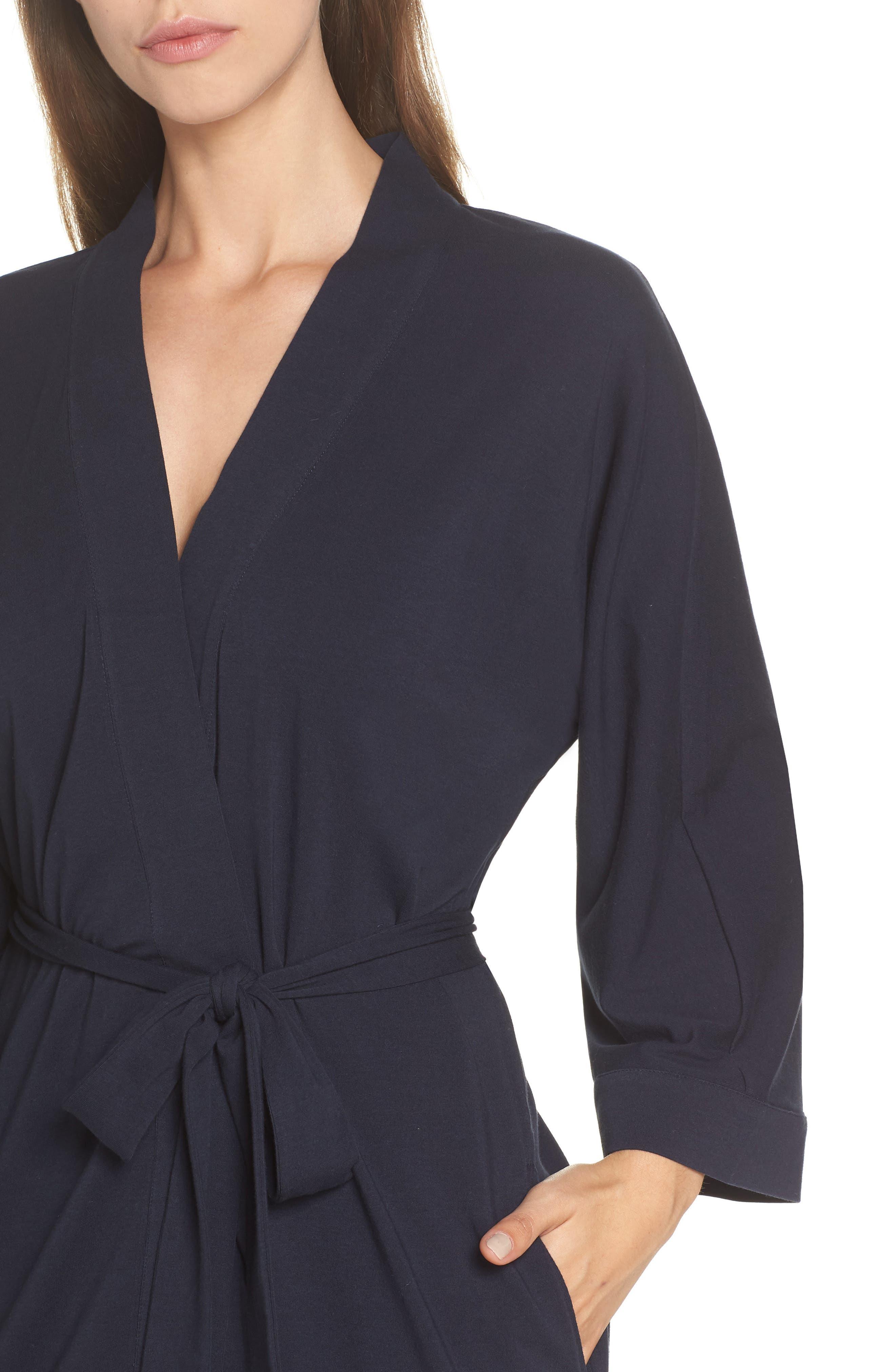 Cotton Robe,                             Alternate thumbnail 4, color,                             Navy