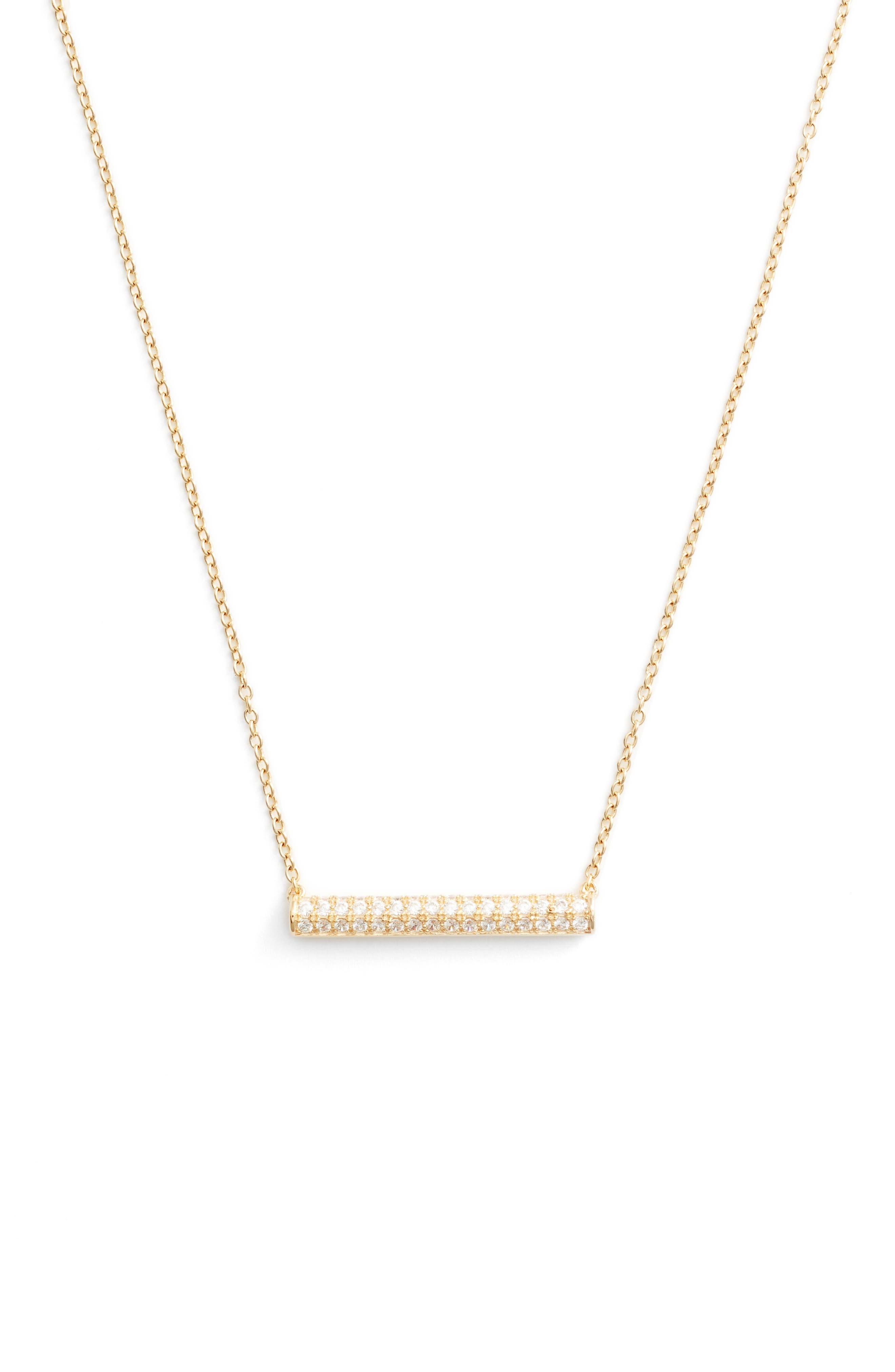 Pavé Cylinder Bar Pendant Necklace,                         Main,                         color, Gold