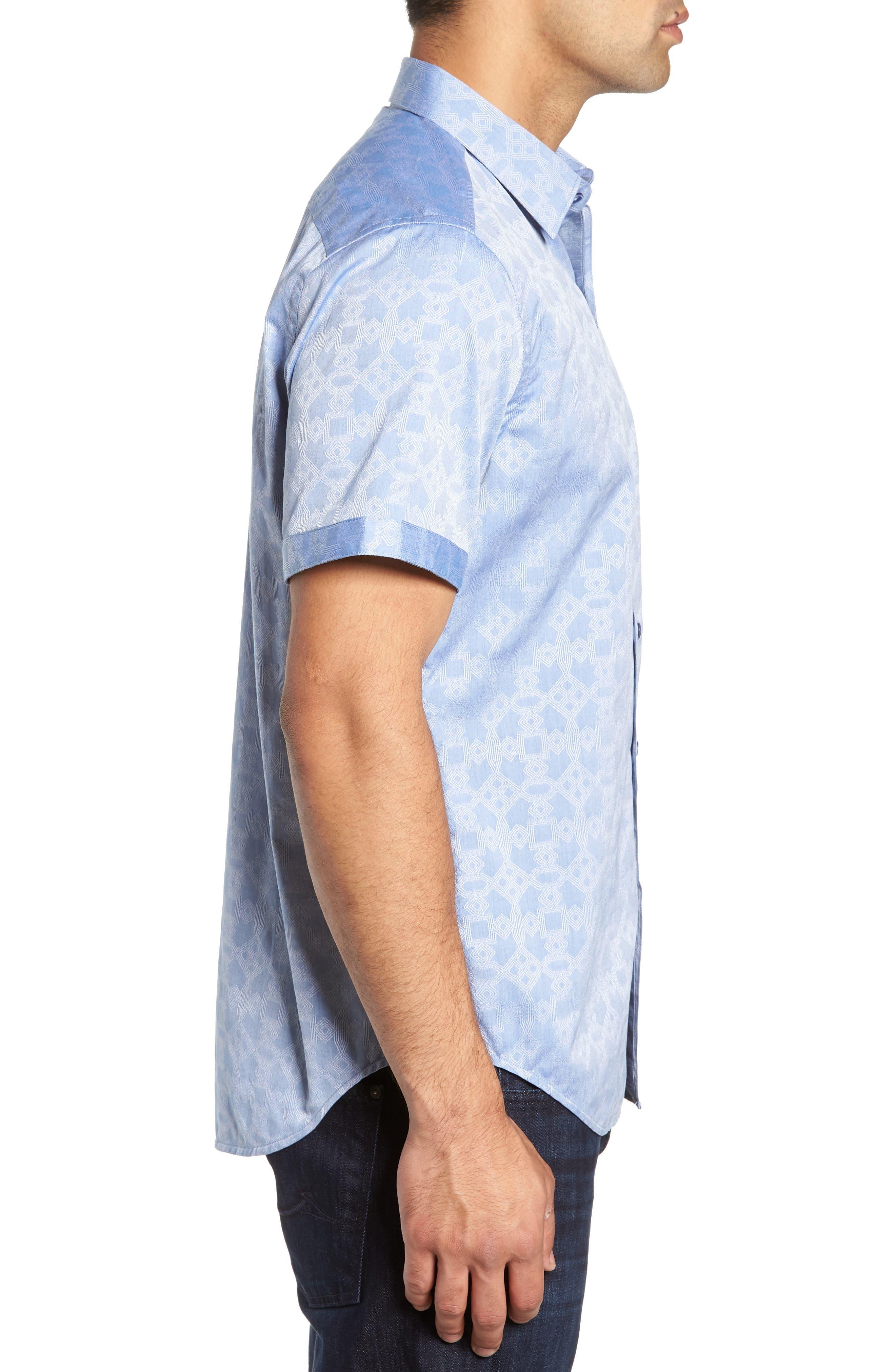 Maya Bay Classic Fit Jacquard Sport Shirt,                             Alternate thumbnail 4, color,                             Blue