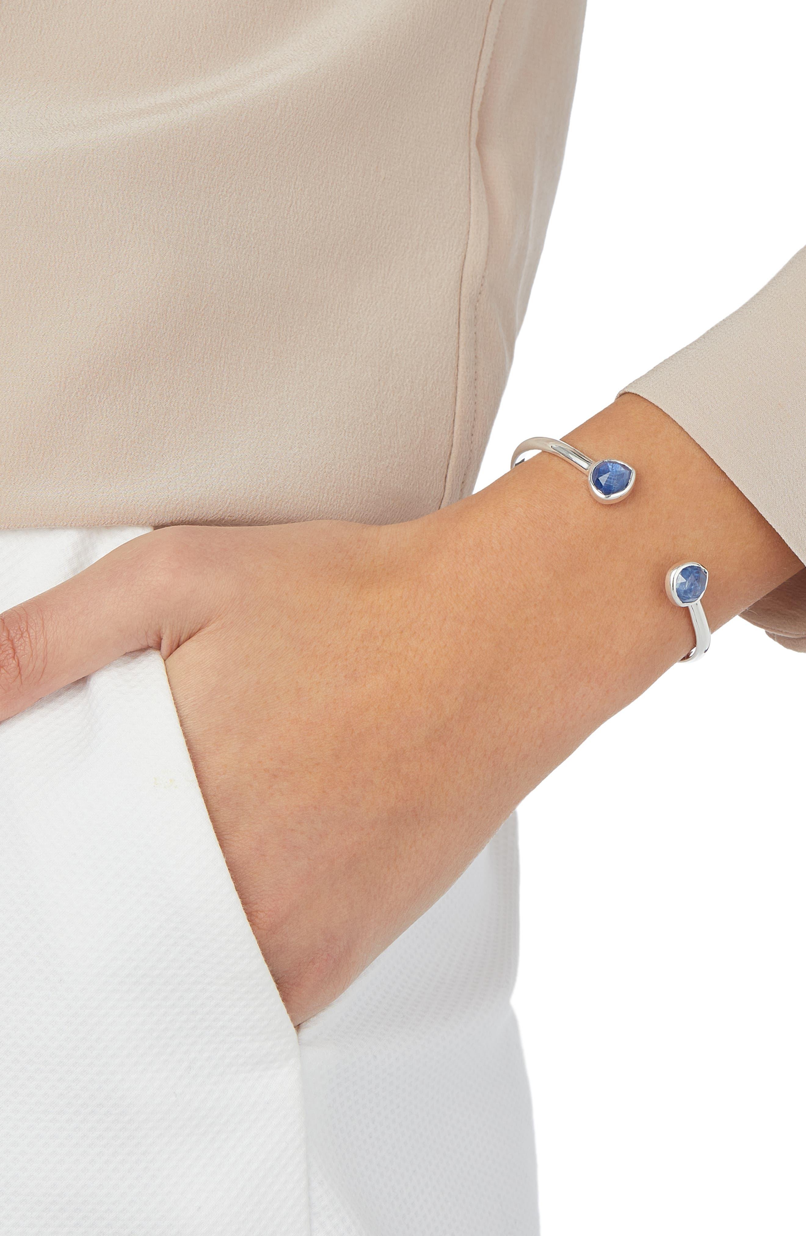 Siren Thin Cuff Bracelet,                             Alternate thumbnail 2, color,                             Silver/ Kyanite