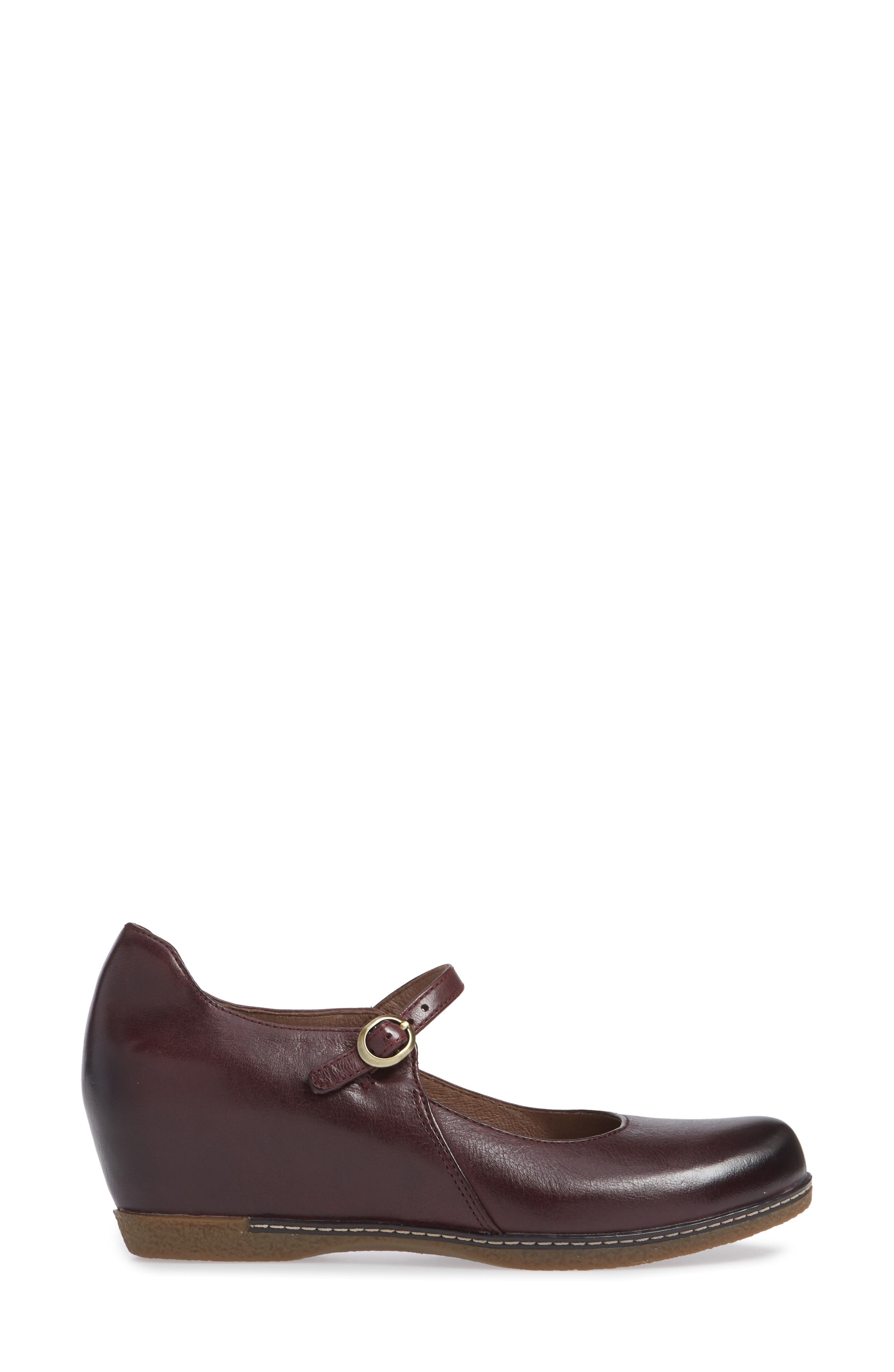 Loralie Mary Jane Wedge,                             Alternate thumbnail 3, color,                             Wine Burnished Leather