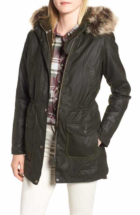Barbour Waxed Cotton Coat with Faux Fur Trim Hood 627113958df