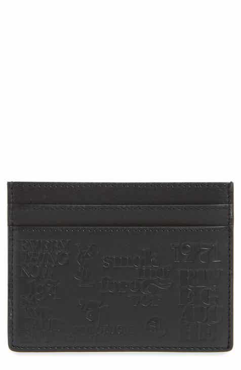 5e79b6ec5bb7 Saint Laurent Logo Embossed Leather Card Case