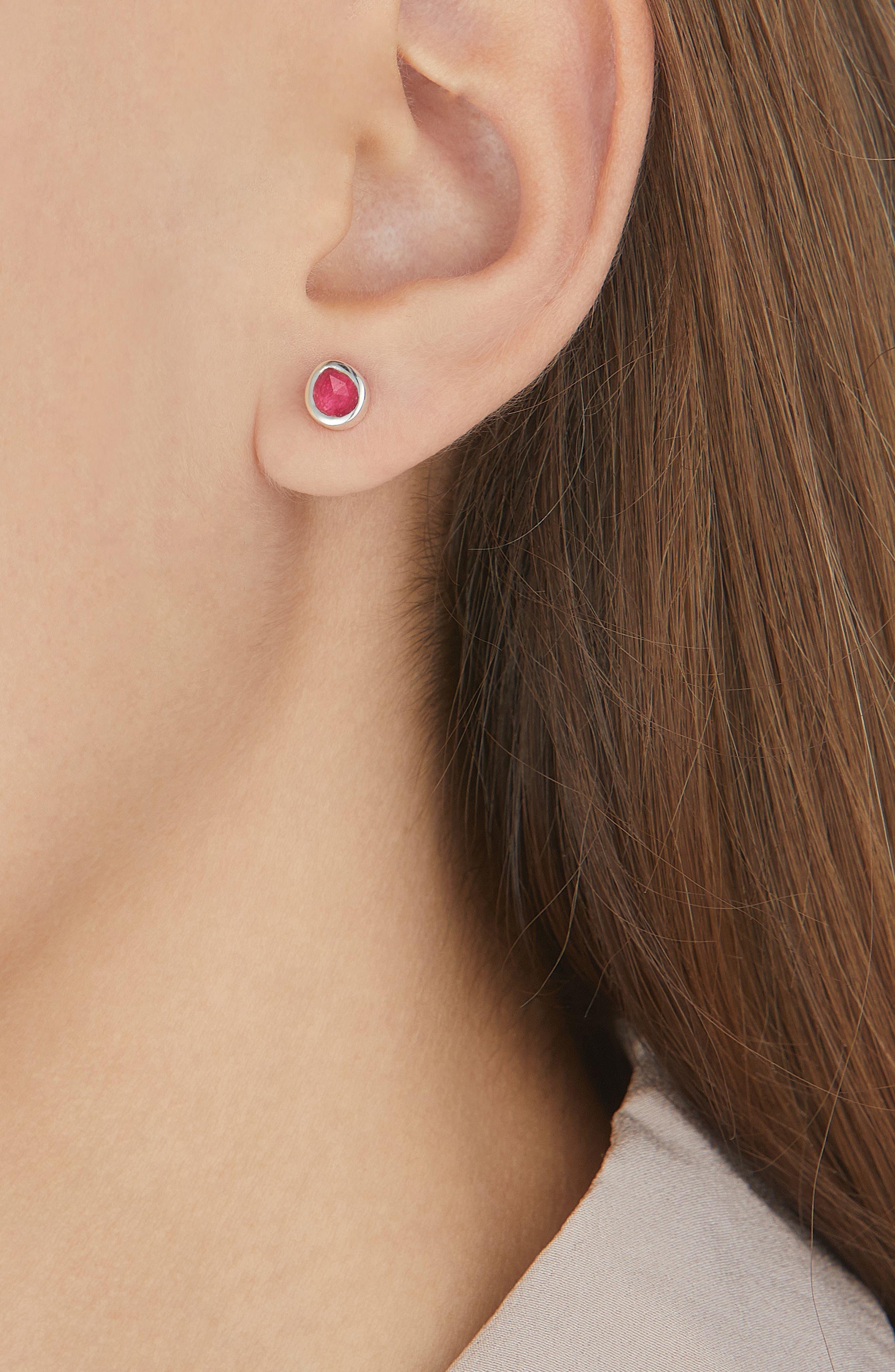 Siren Mini Stud Earrings,                             Alternate thumbnail 2, color,                             Silver/ Pink Quartz