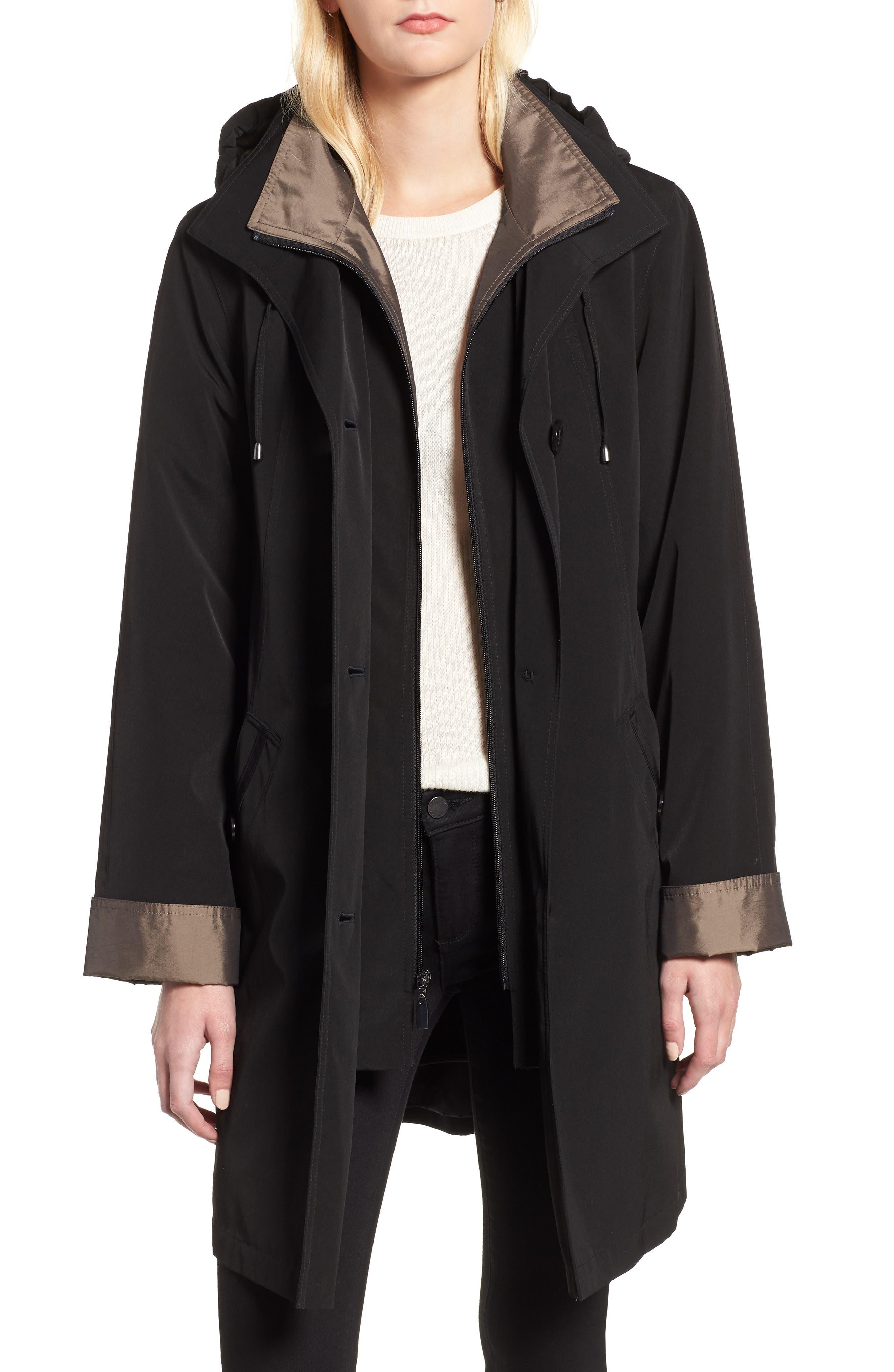 Detachable Hood & Liner Raincoat,                             Main thumbnail 1, color,                             Black