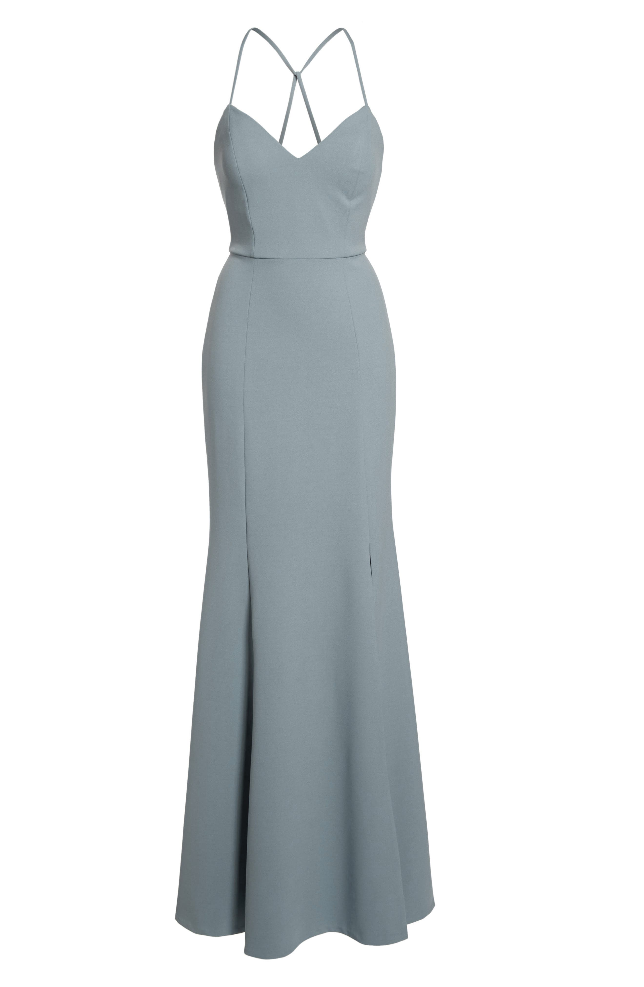 Reese Crepe Knit Gown,                             Alternate thumbnail 4, color,                             Mayan Blue