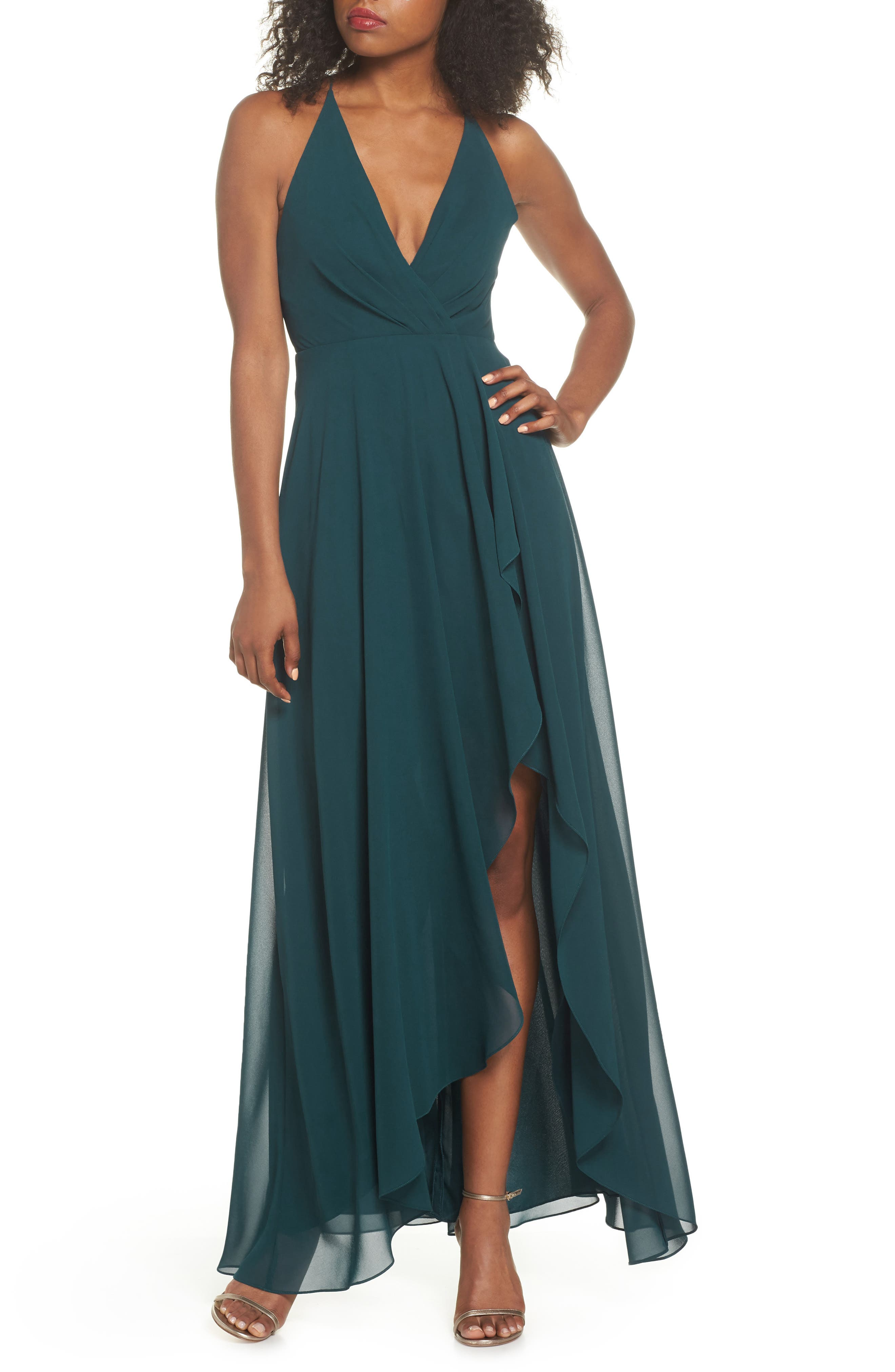 JENNY YOO Farrah Ruffle Skirt Chiffon Gown in Caspian Sea