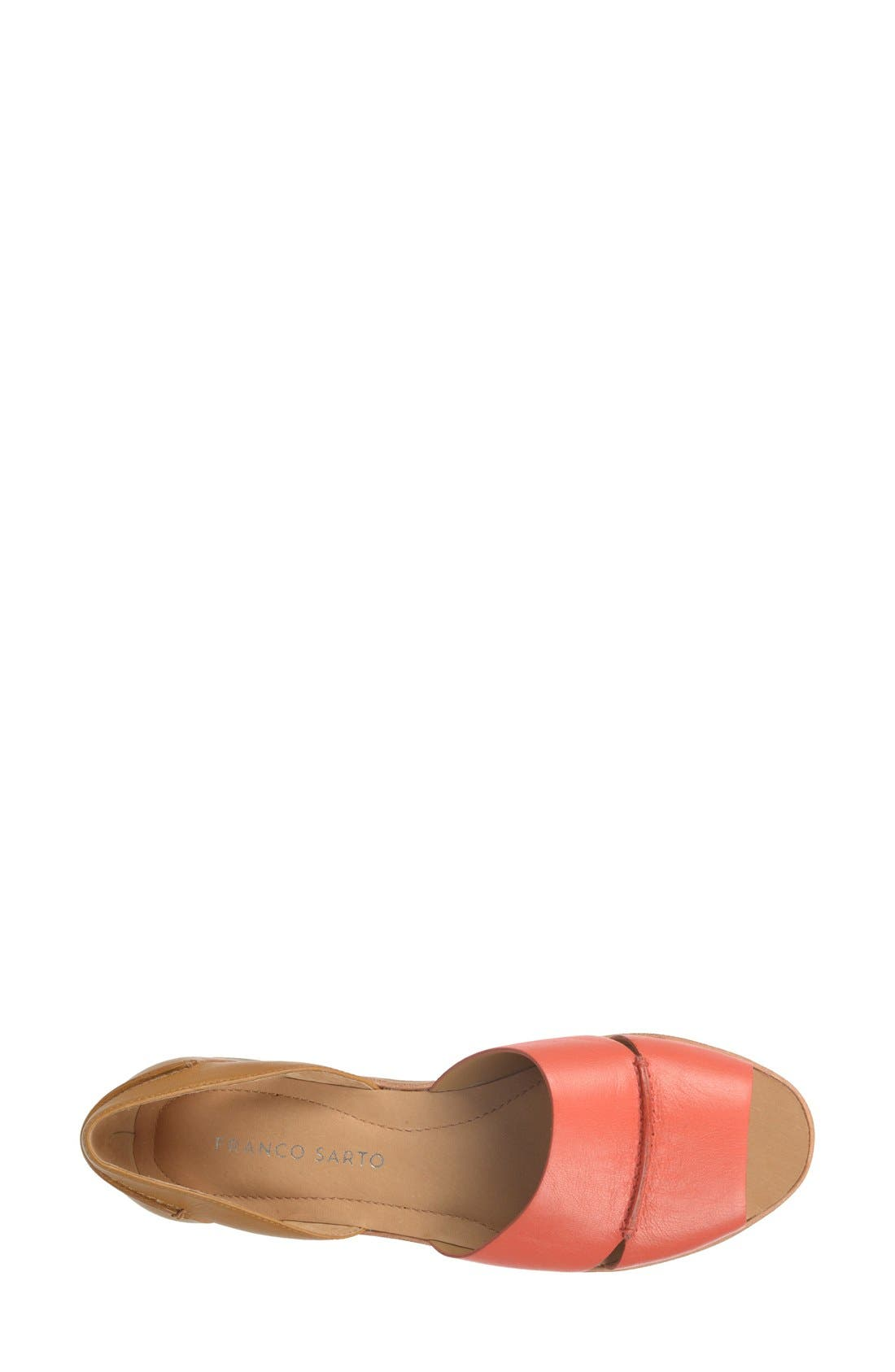 'Vivace' Leather d'Orsay Flat,                             Alternate thumbnail 3, color,                             Coral/ Tan