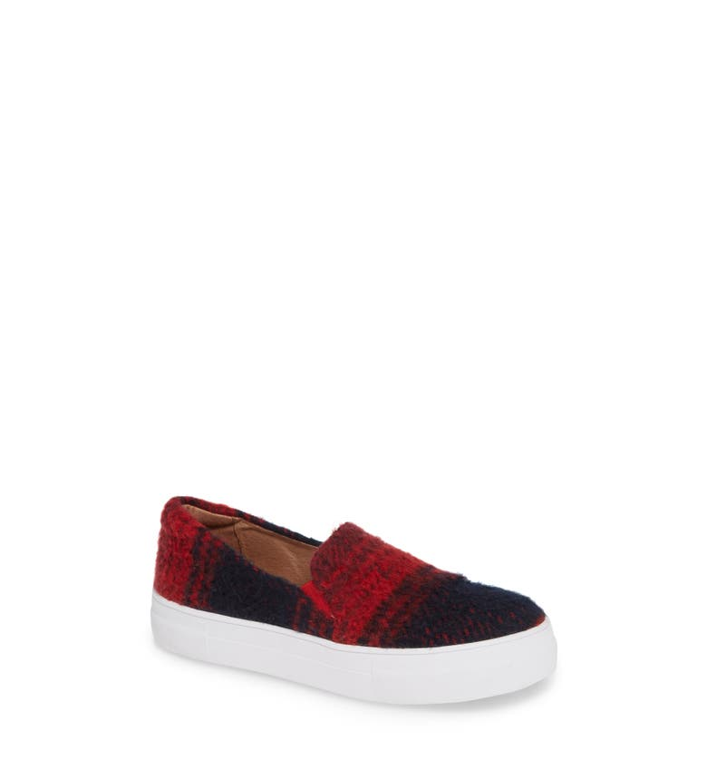 Alden Slip-On Sneaker,                         Main,                         color, Red/Navy Plaid Fabric