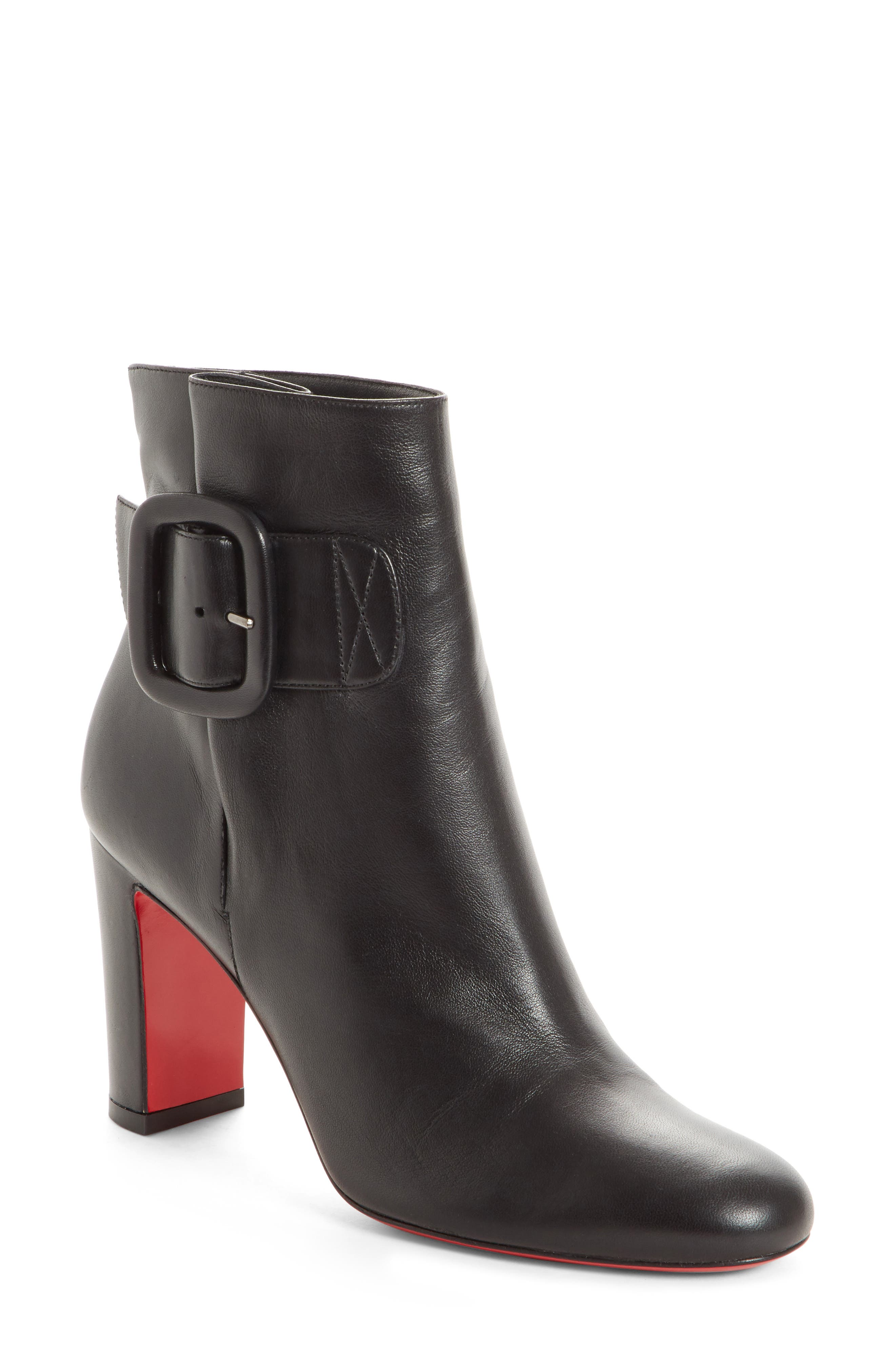 Tres Olivia Napa Leather Buckled Red Sole Booties in Black