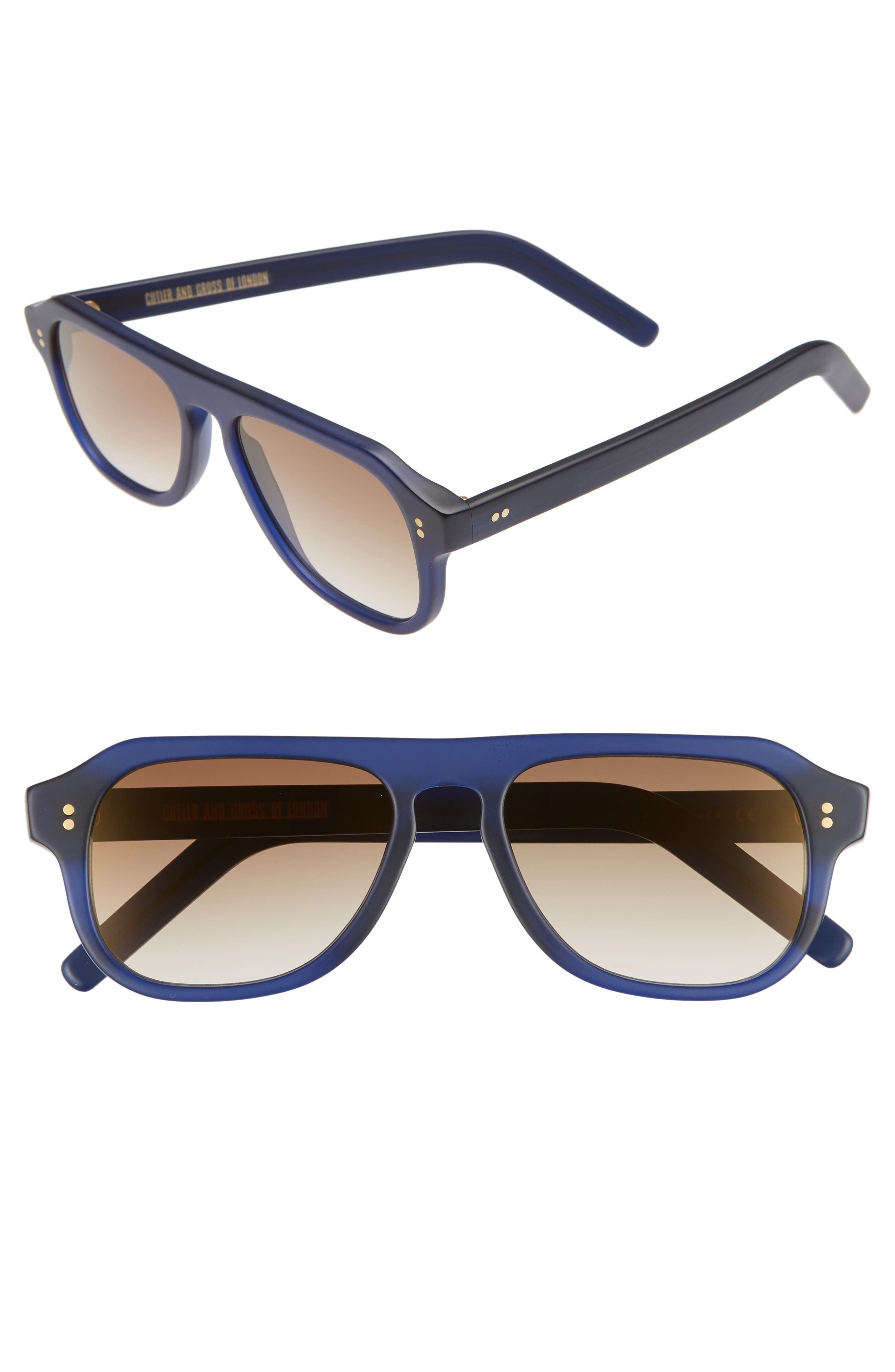 CUTLER AND GROSS 53MM POLARIZED SUNGLASSES - MATTE CLASSIC NAVY BLUE/ BROWN