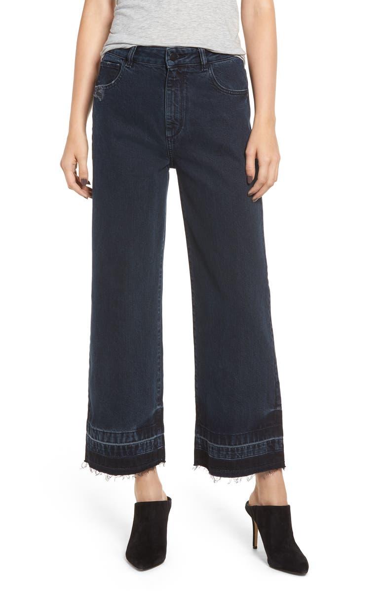 Hepburn High Waist Release Hem Crop Wide Leg Jeans