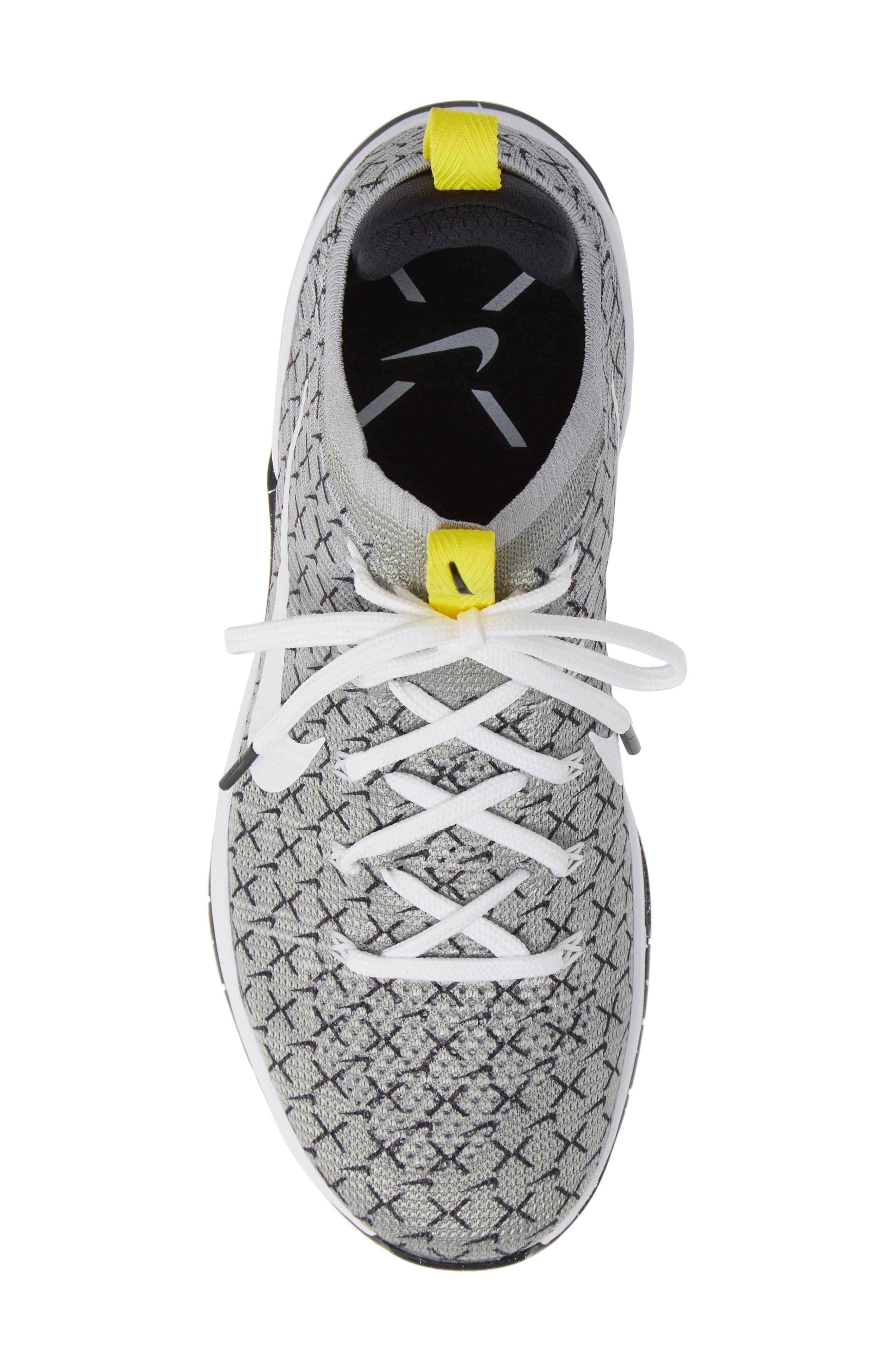 Metcon DSX Flyknit 2 Training Shoe,                             Alternate thumbnail 3, color,                             Black/ White/ Yellow