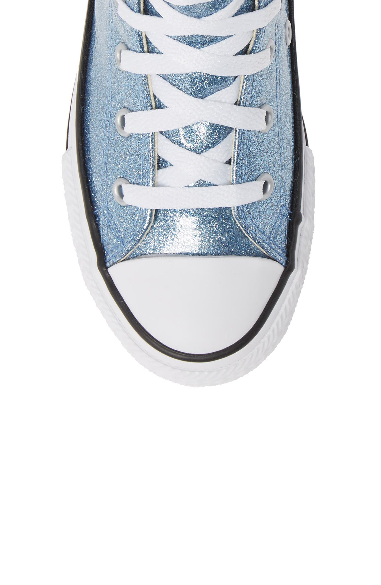 All Star<sup>®</sup> Glitter High Top Sneaker,                             Alternate thumbnail 5, color,                             Light Blue