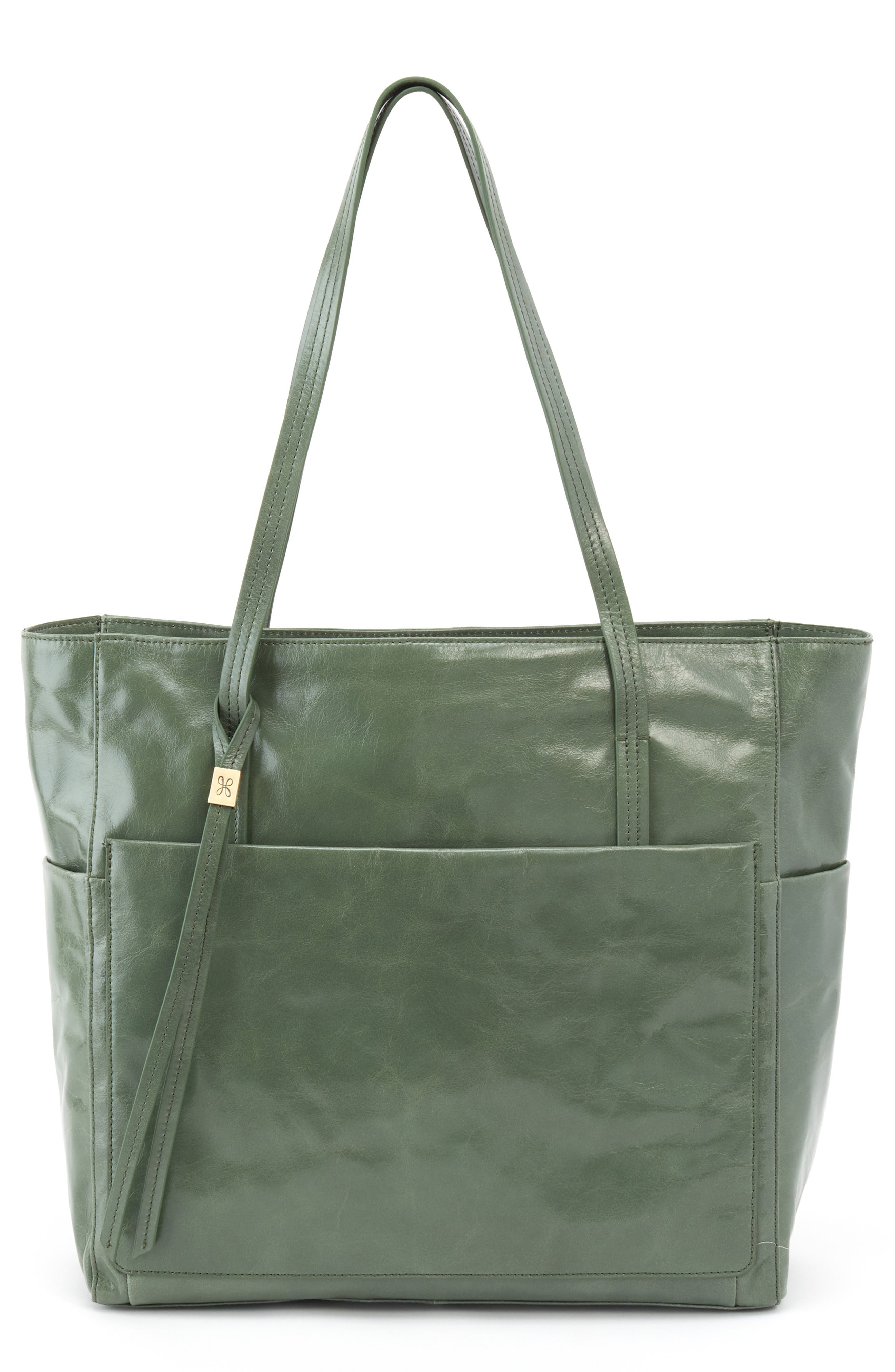 Hero Leather Tote,                         Main,                         color, Moss