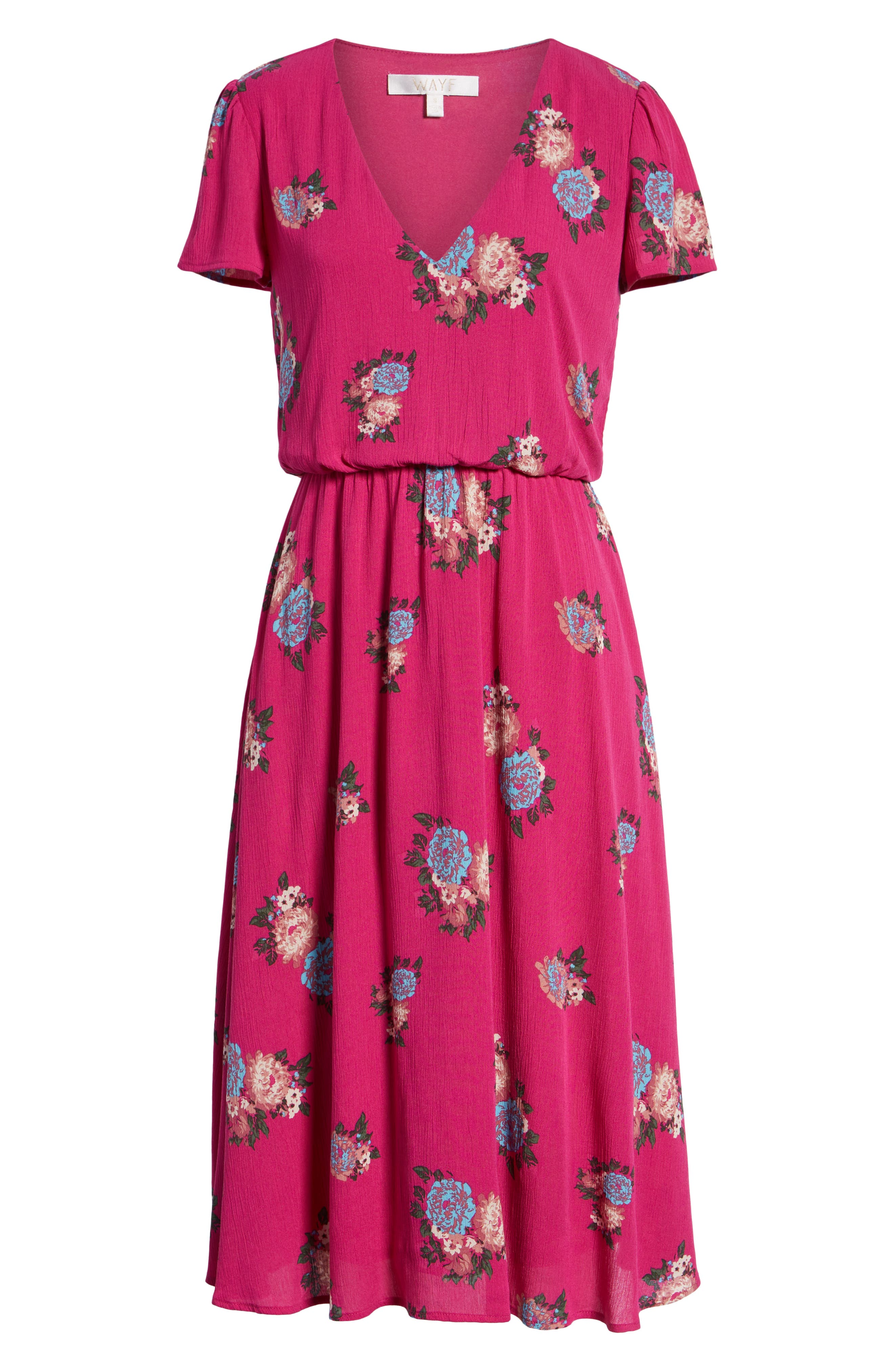 Blouson Midi Dress,                             Alternate thumbnail 7, color,                             Pink Berry Floral