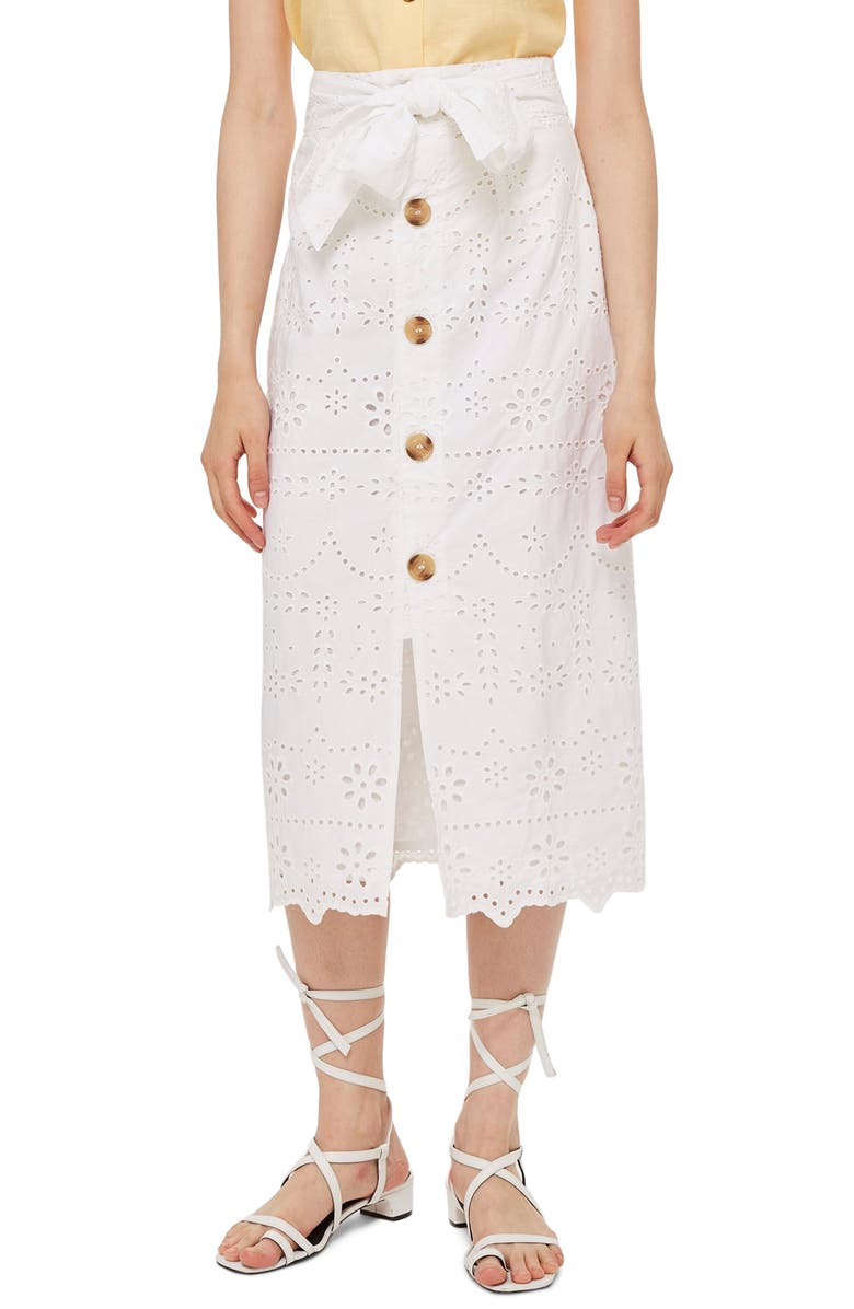 Button Front Broderie Anglaise Midi Skirt