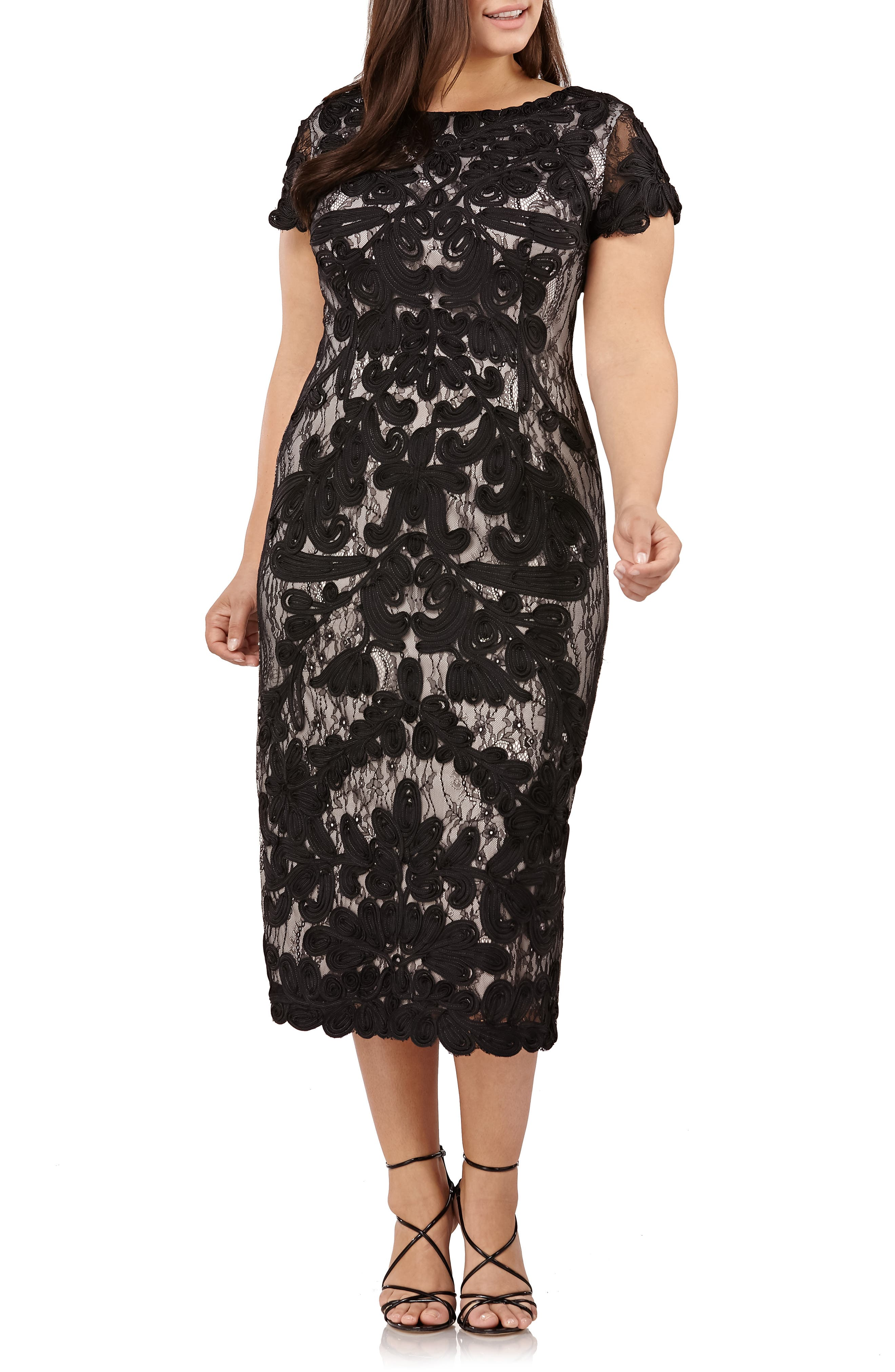 JS Collections Two Tone Soutache Embroidered Midi Dress (Plus Size)
