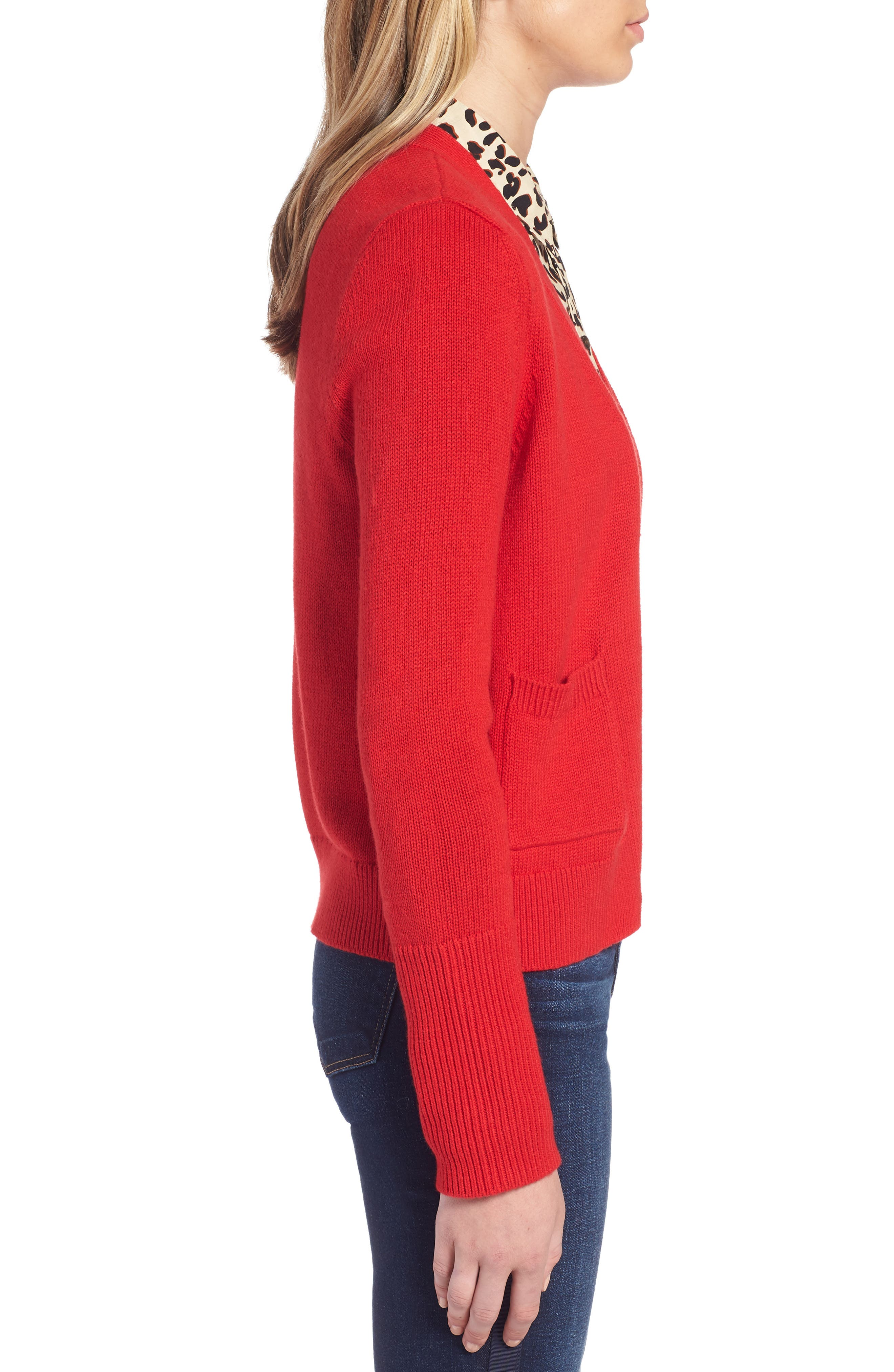 Cotton Cashmere Colorblock Cardigan,                             Alternate thumbnail 3, color,                             Red Chinoise