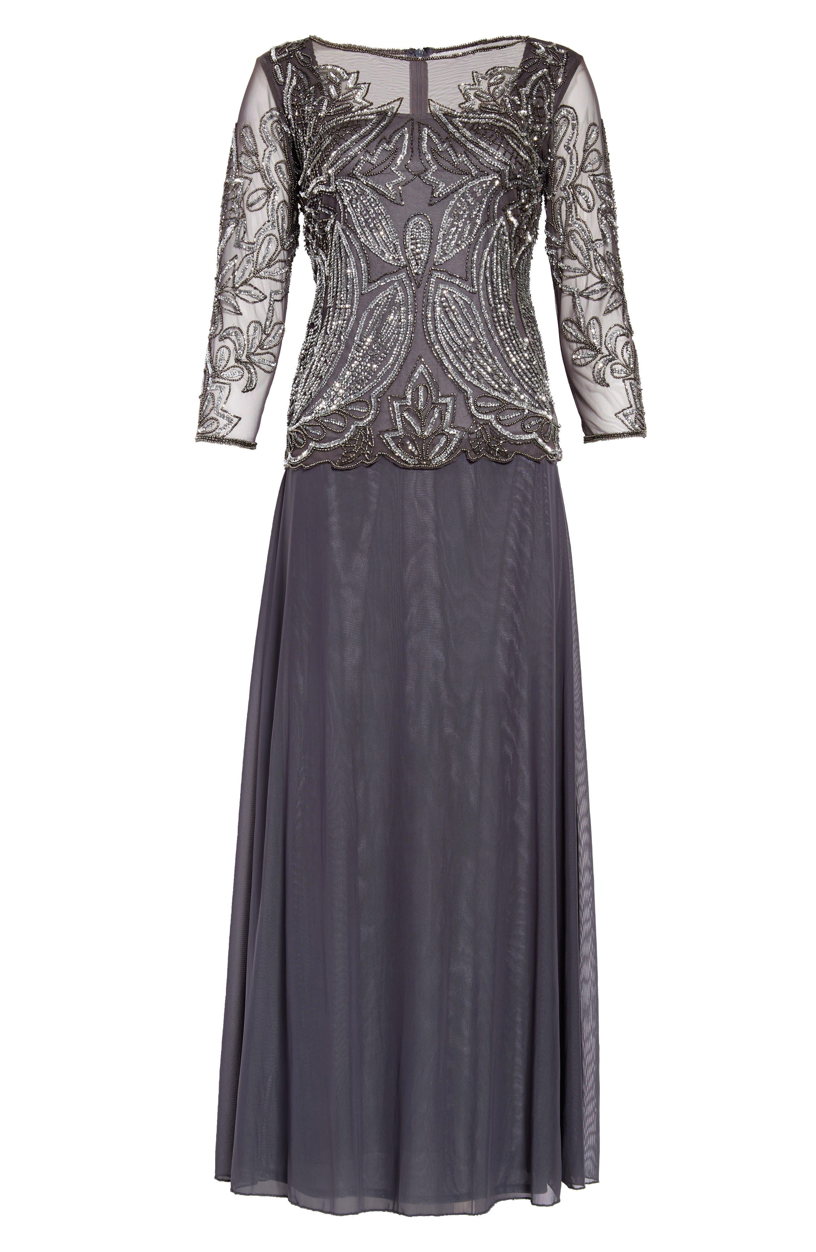 Pisarro Nights Embellished Mesh Gown (Regular & Petite)