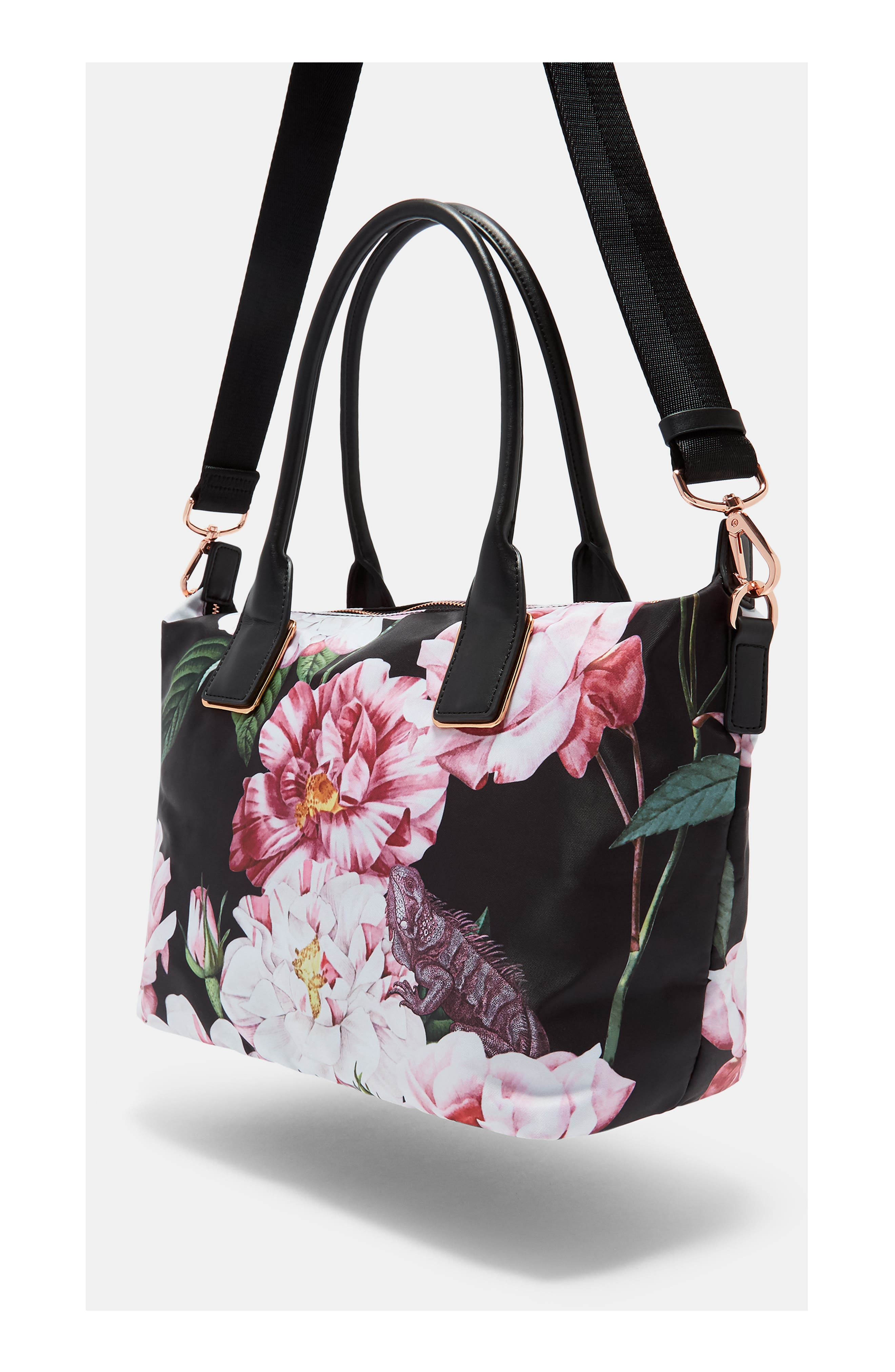 Small Iguazu Print Nylon Tote,                             Alternate thumbnail 2, color,                             Black