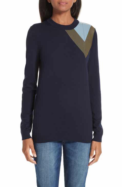 Loewe Leather Chevron Shoulder Wool Sweater