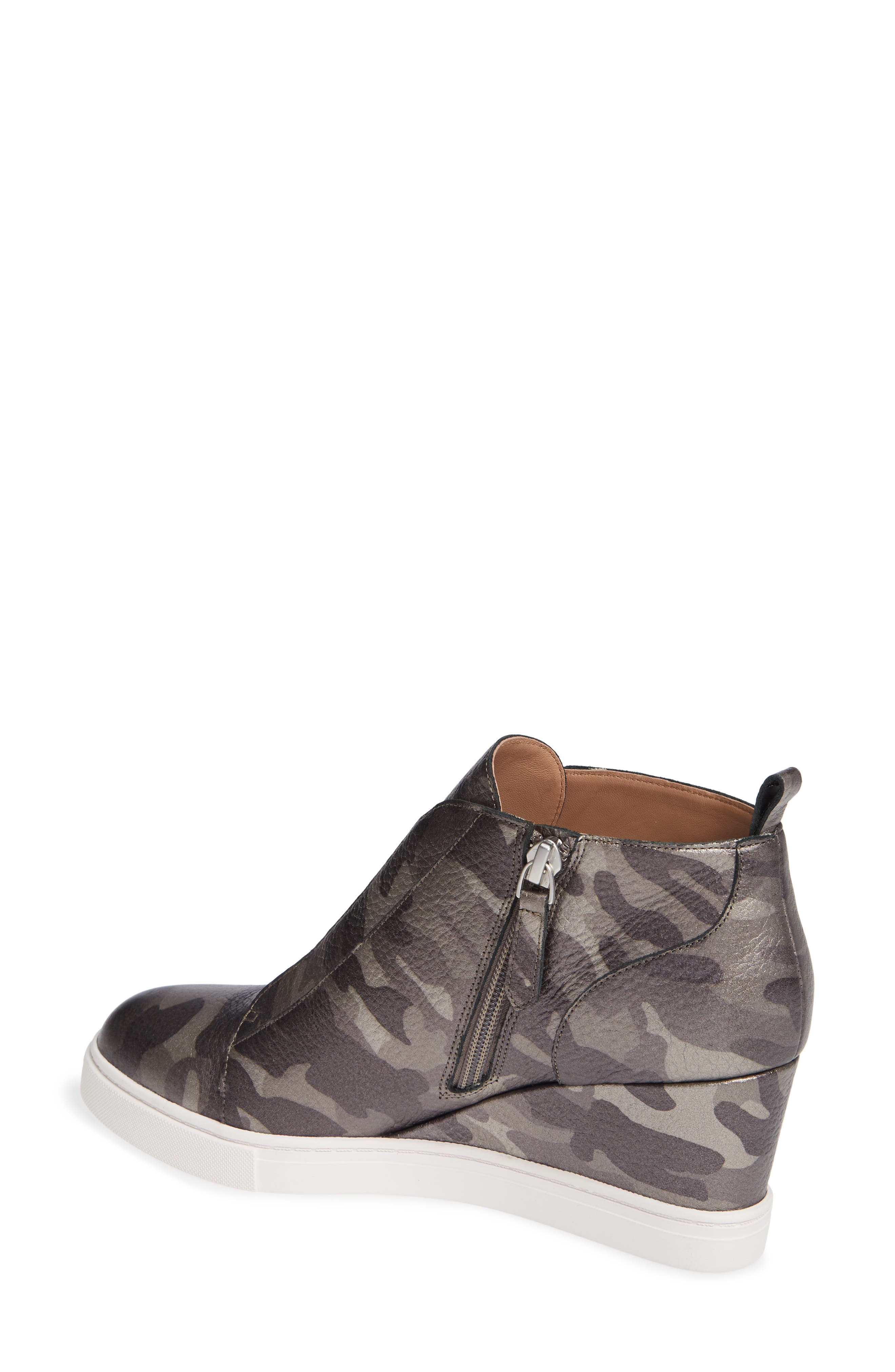 'Felicia' Wedge Bootie,                             Alternate thumbnail 2, color,                             Dark Grey Print Leather