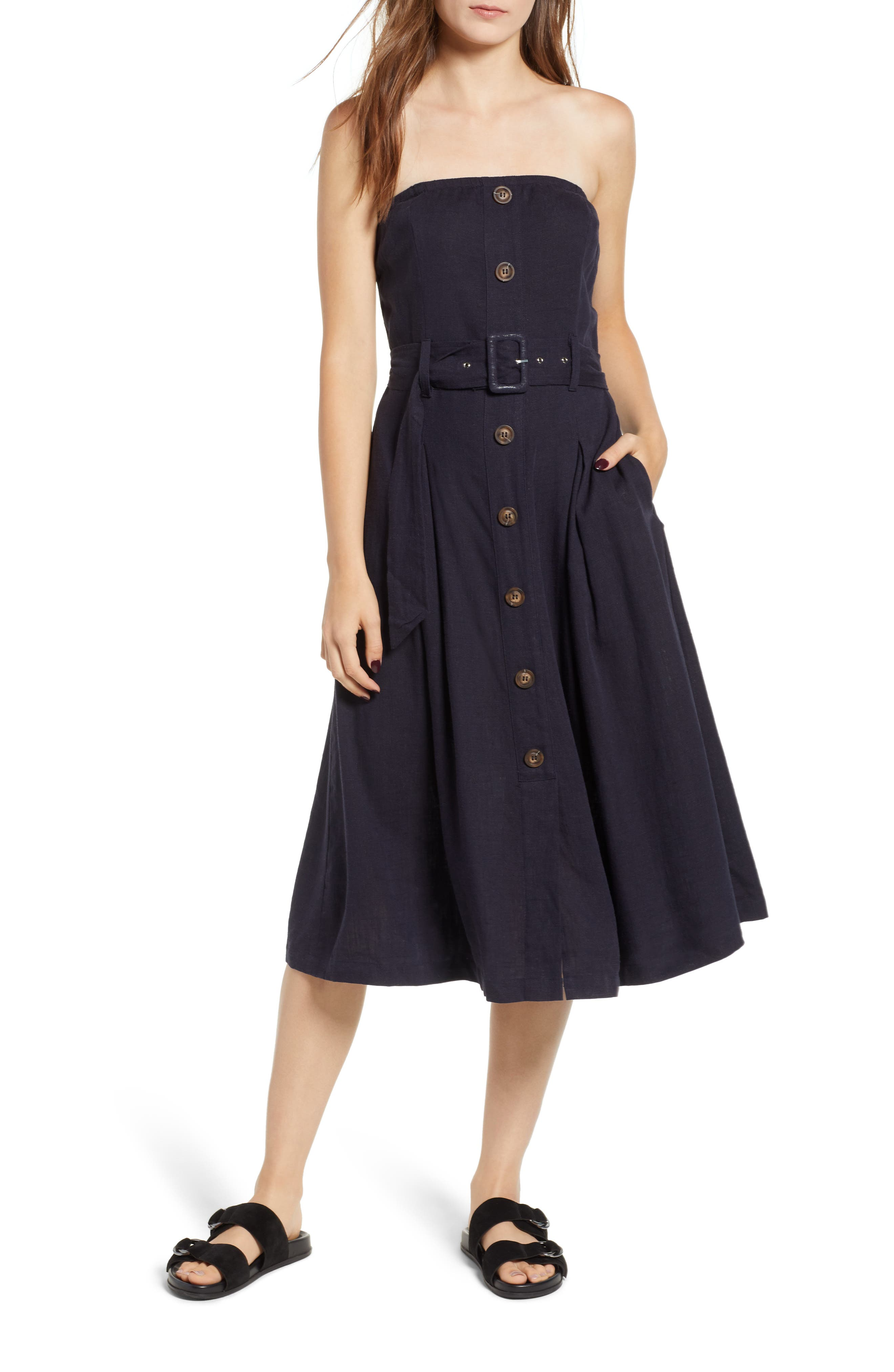 MOON RIVER STRAPLESS BELTED MIDI DRESS