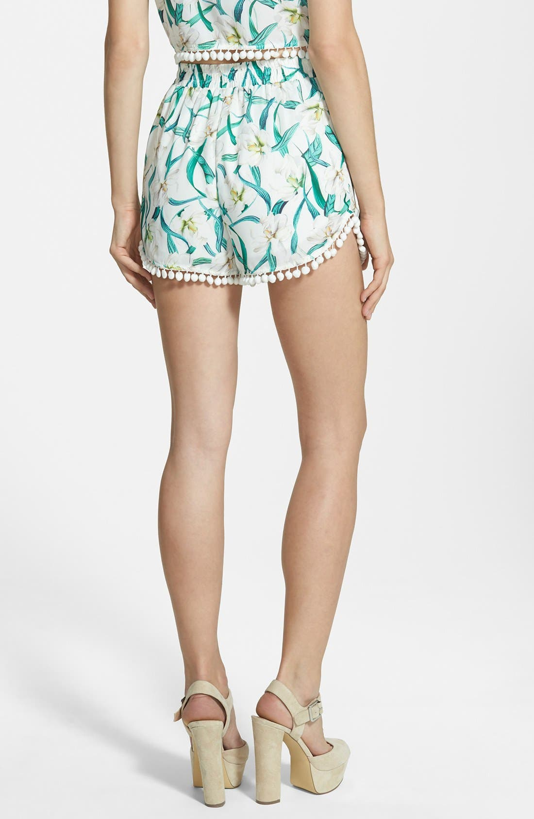 Alternate Image 2  - Missguided Floral Print Pom Shorts