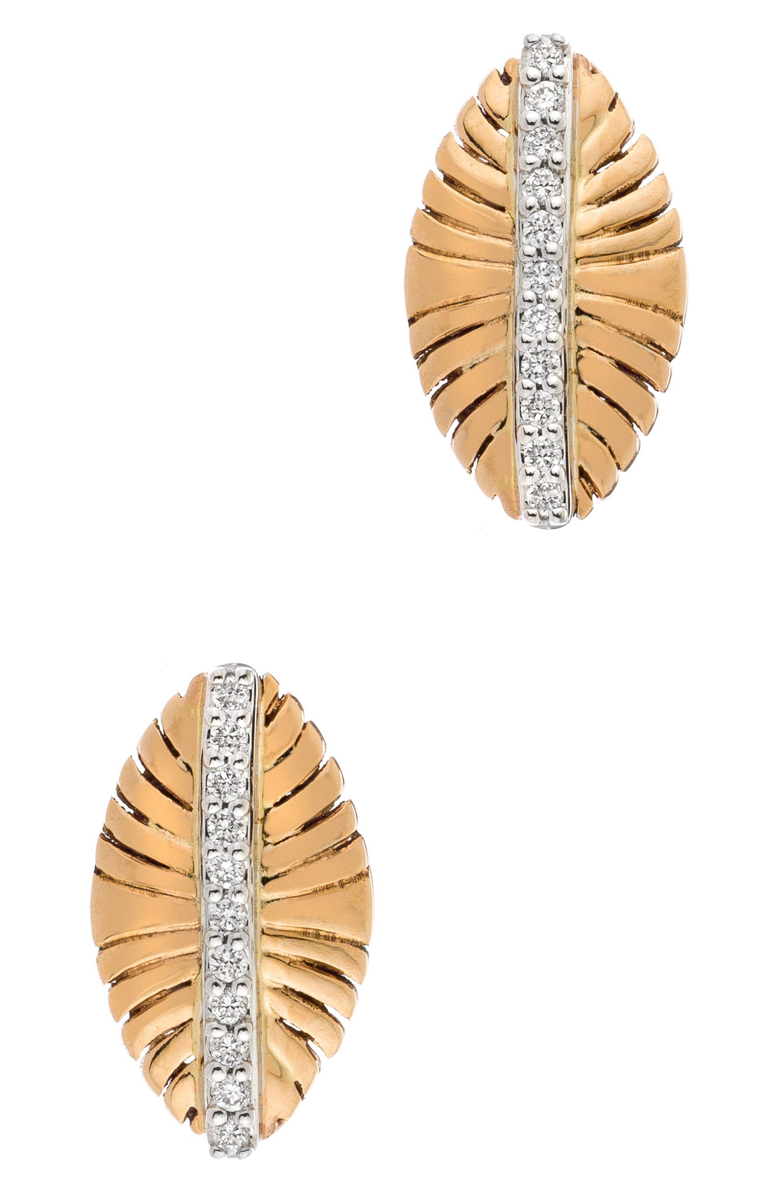 SETHI COUTURE 18K GOLD & DIAMOND FEATHER EARRINGS