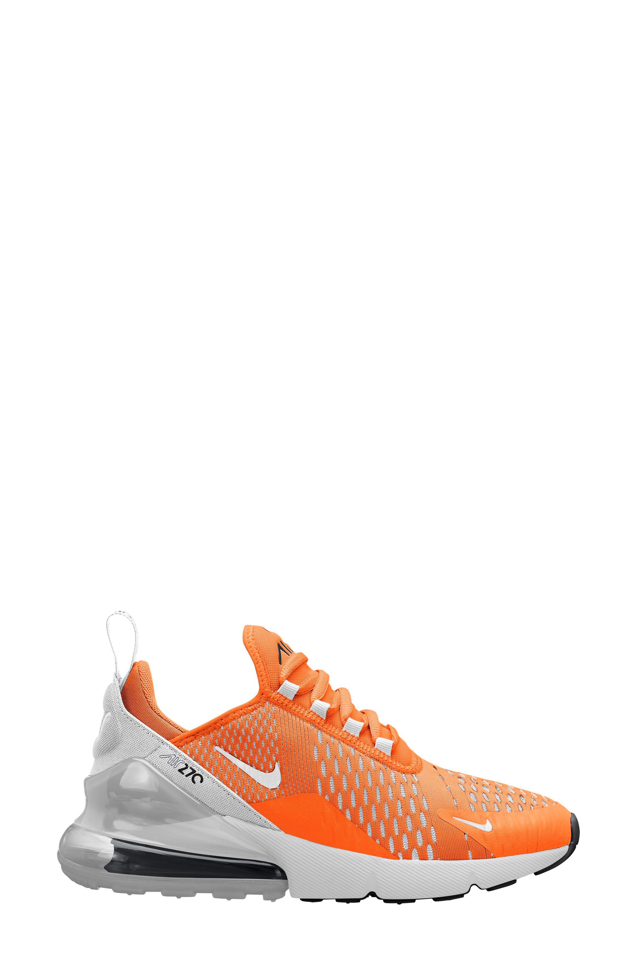 Air Max 270 Sneaker,                             Main thumbnail 1, color,                             Total Orange/ White-Black