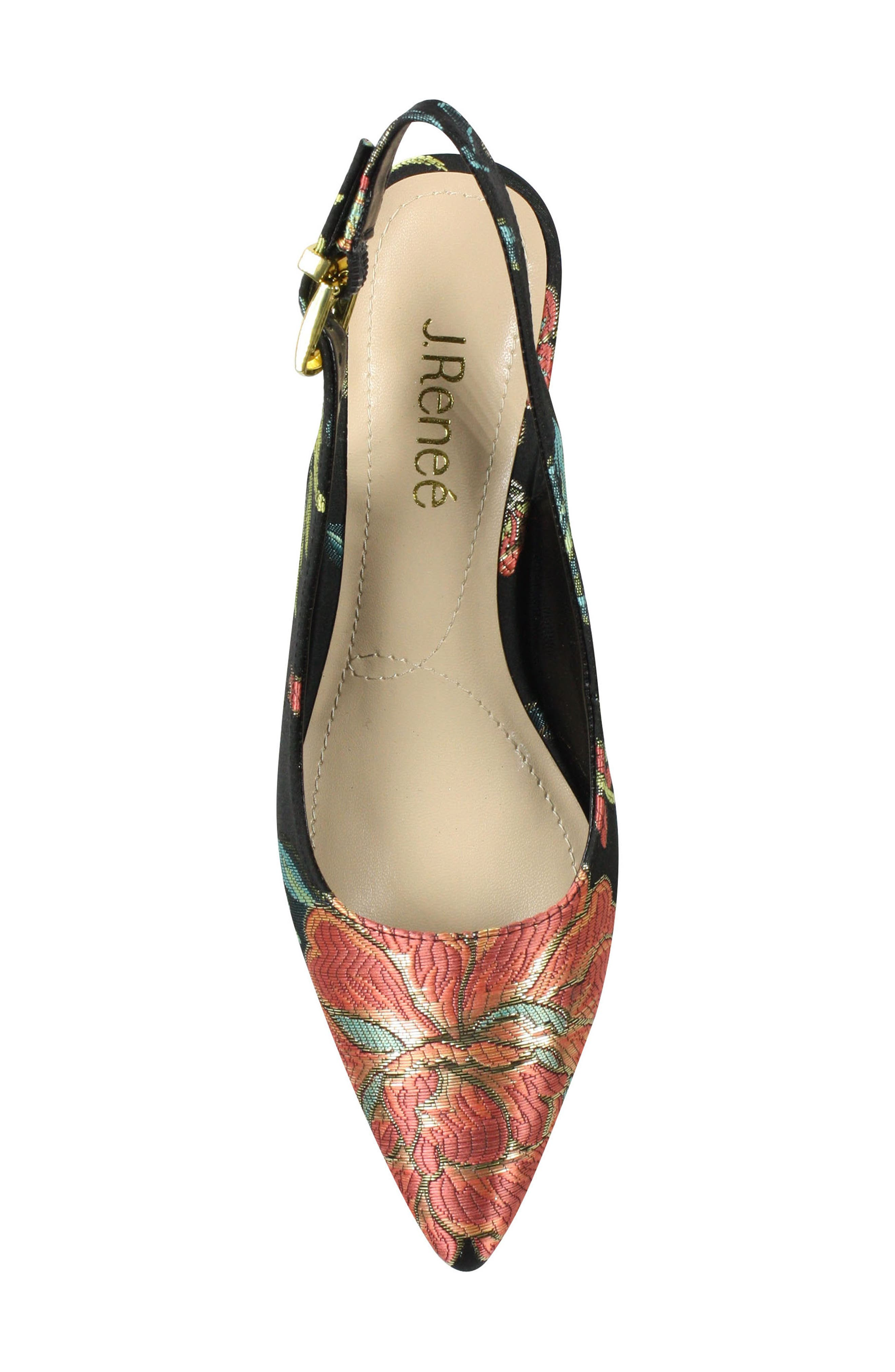 Mayetta Slingback Pump,                             Alternate thumbnail 6, color,                             Black/ Teal/ Coral Multi