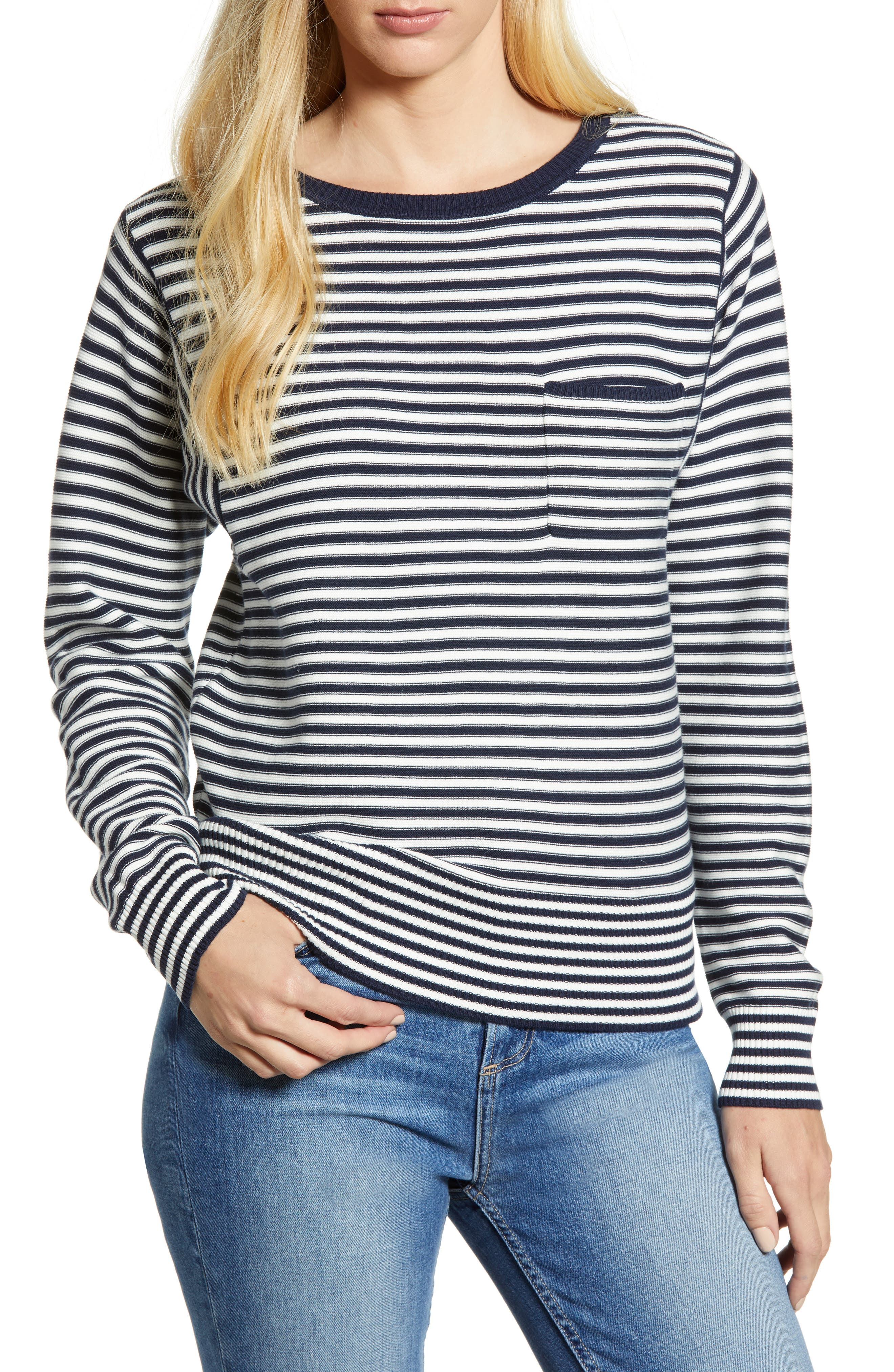 LUCKY BRAND FRENCH STRIPE COTTON SWEATER