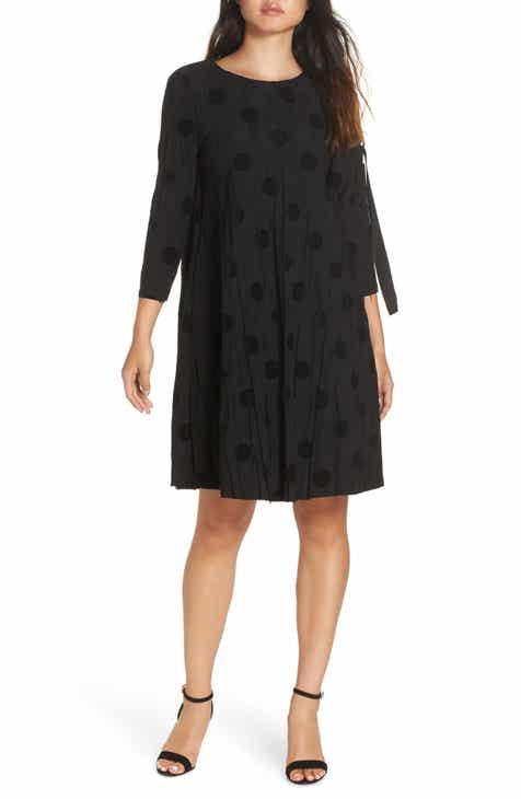 CAARA D-Ring Sleeve Textured A-Line Dress