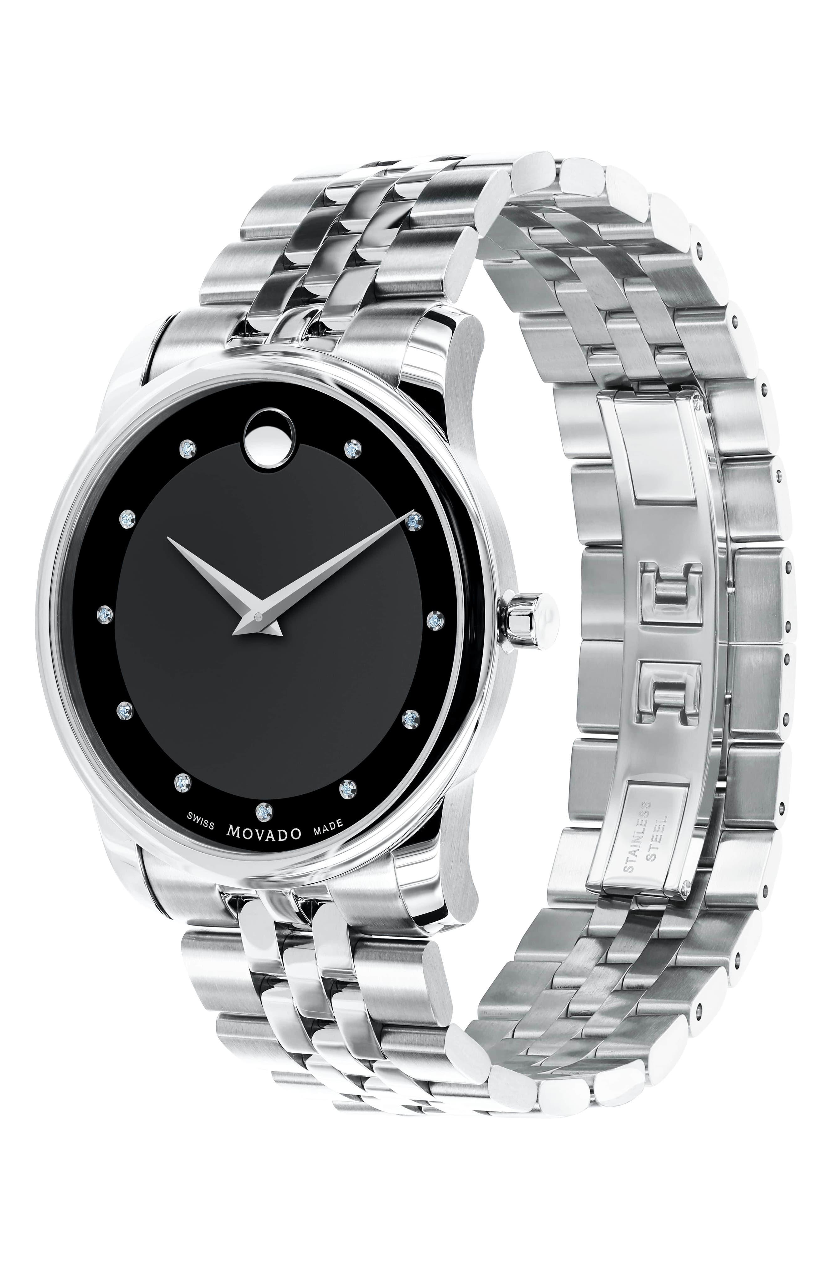 'Museum' Bracelet Watch, 40mm,                             Alternate thumbnail 3, color,                             Silver/ Black