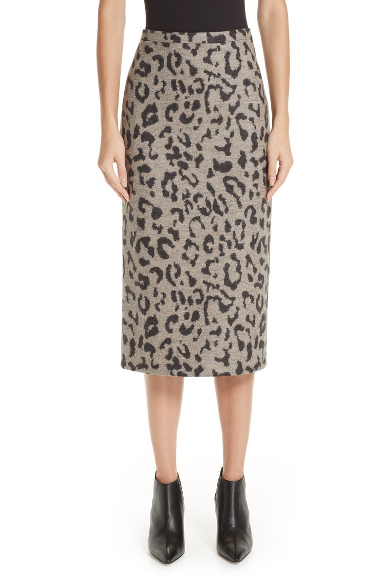 Thomas Leopard Jacquard Wool Skirt