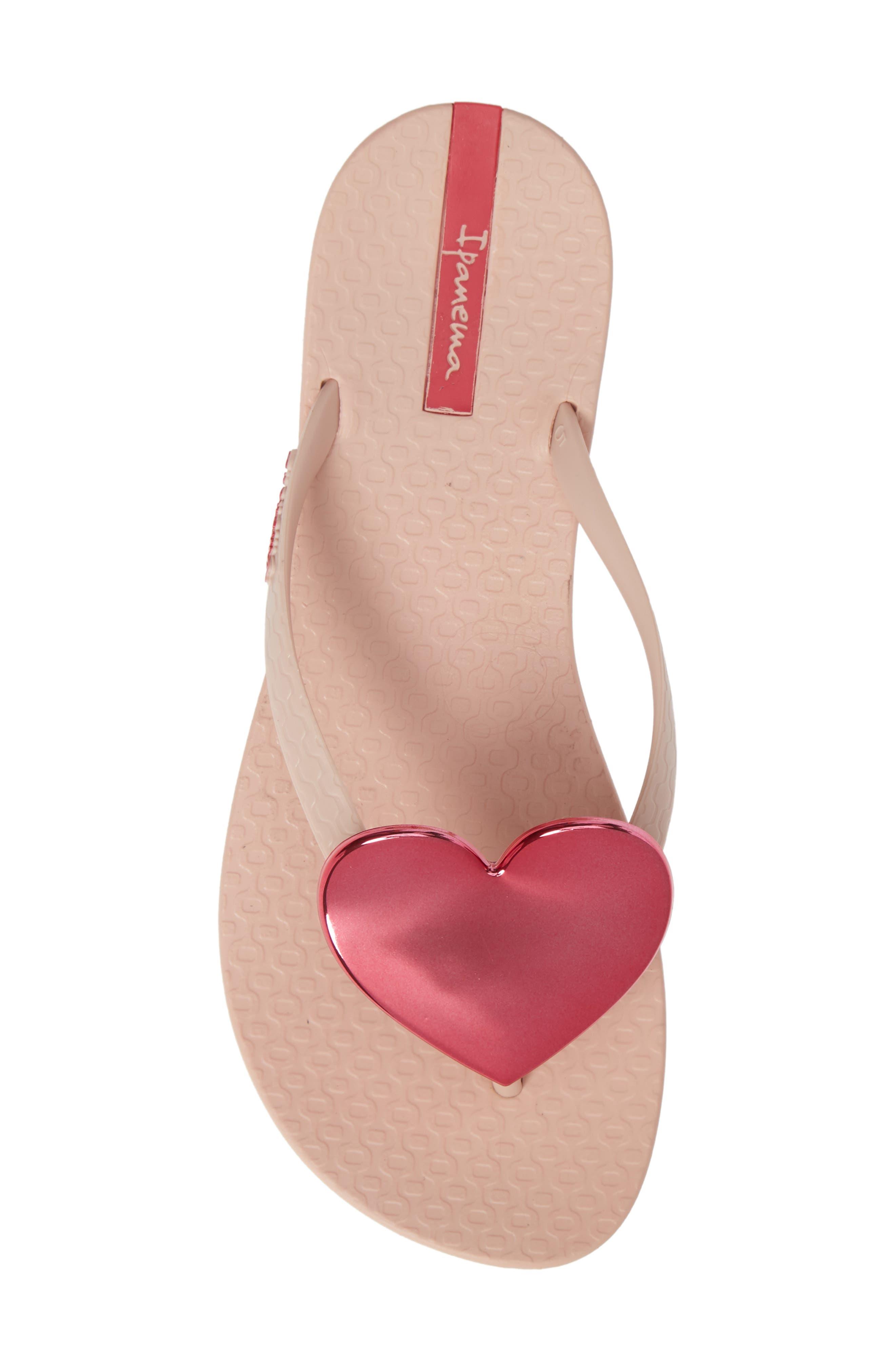Wave Heart Flip Flop,                             Alternate thumbnail 3, color,                             Pink/ Pink