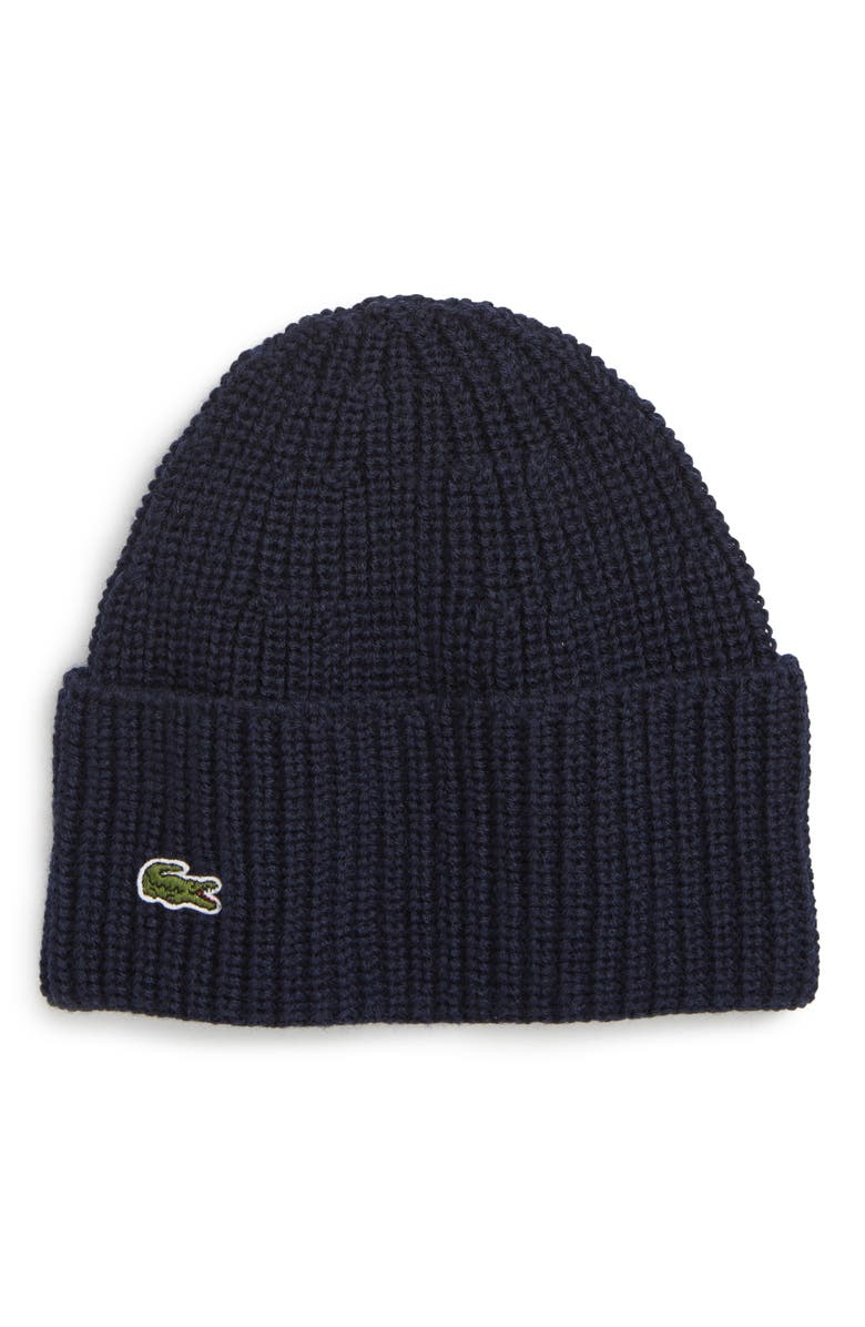 2bc44786473 LACOSTE RIBBED WOOL BEANIE - BLUE