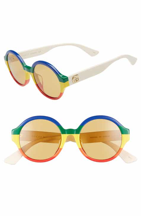 62cdc5f86341f Gucci 51mm Rainbow Stripe Round Sunglasses