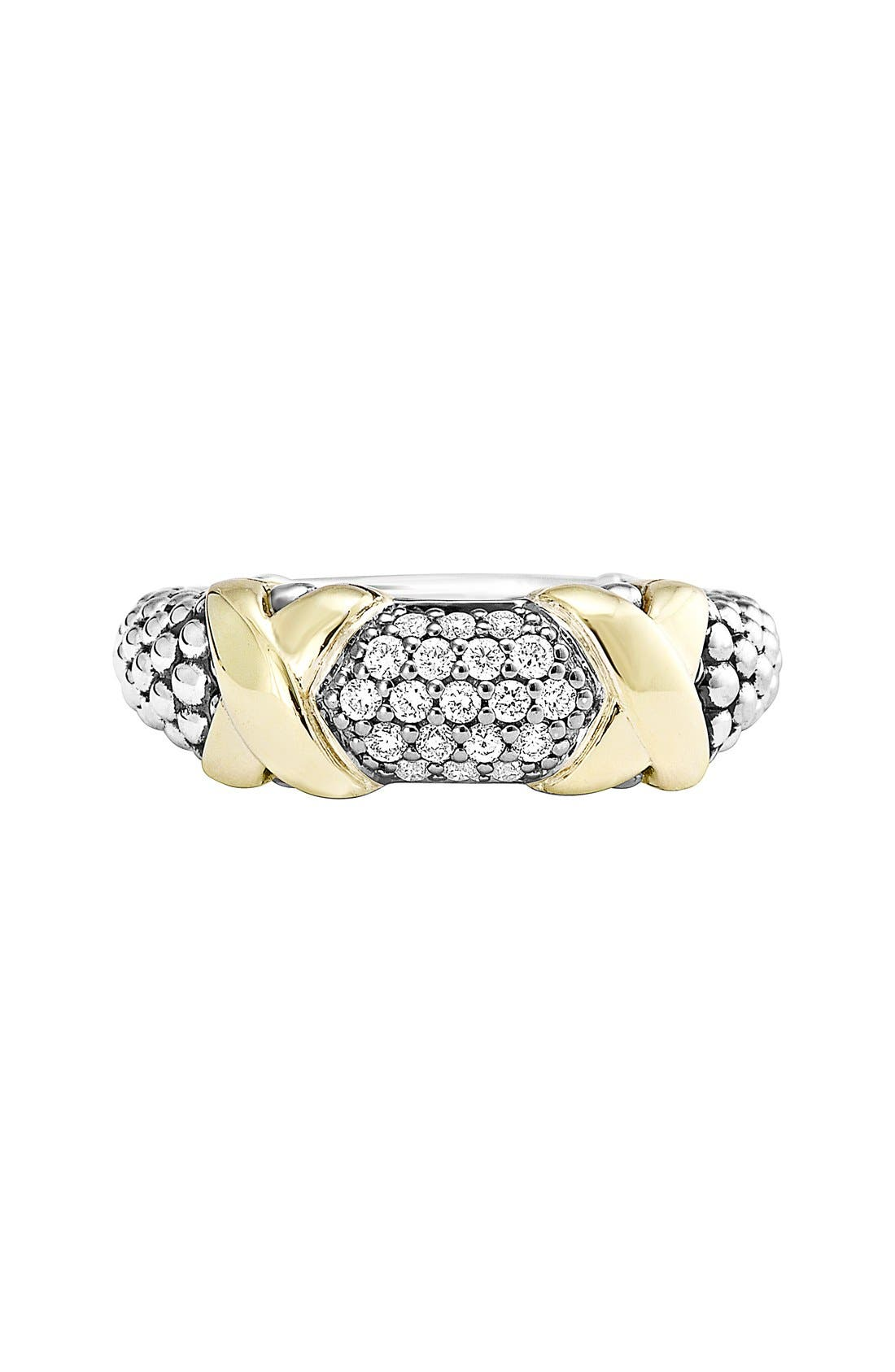 'Diamond Luxe' Ring,                             Alternate thumbnail 3, color,                             Silver/ Gold