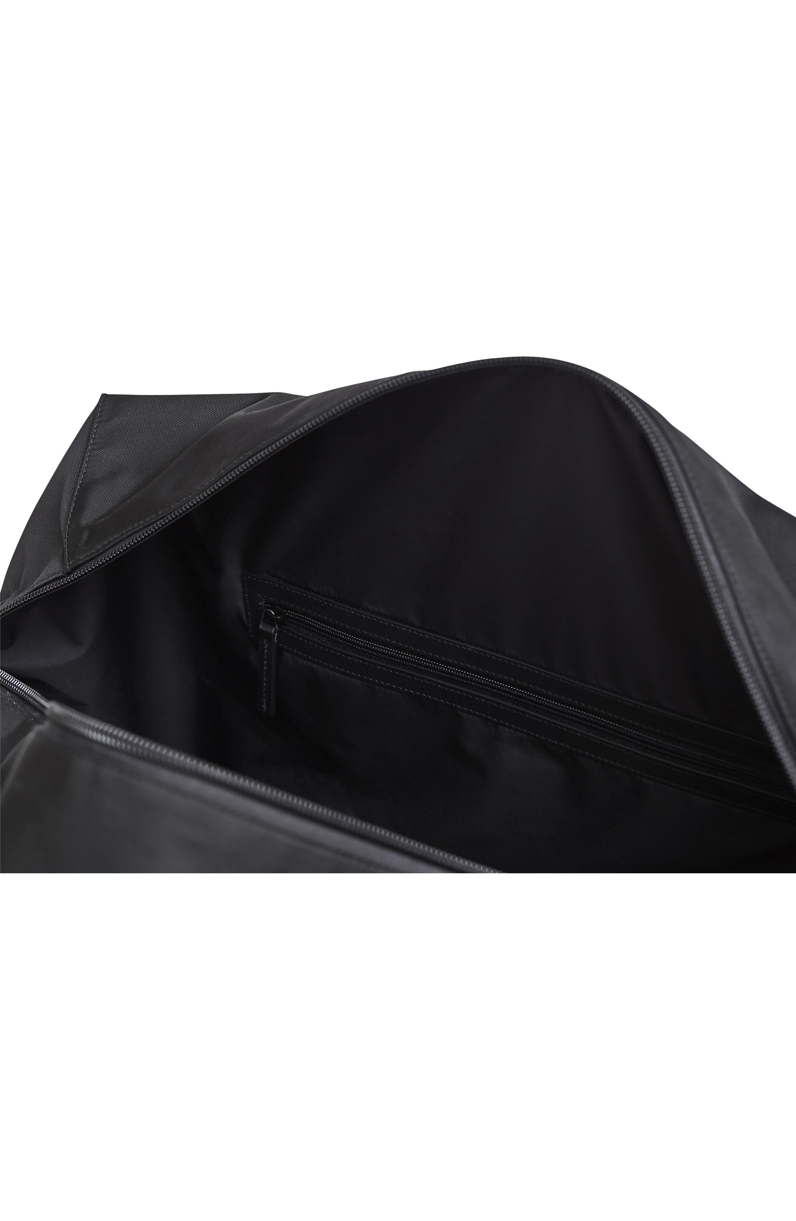 Lightweight Duffel Bag,                             Alternate thumbnail 6, color,                             Black Nylon/ Black Leather