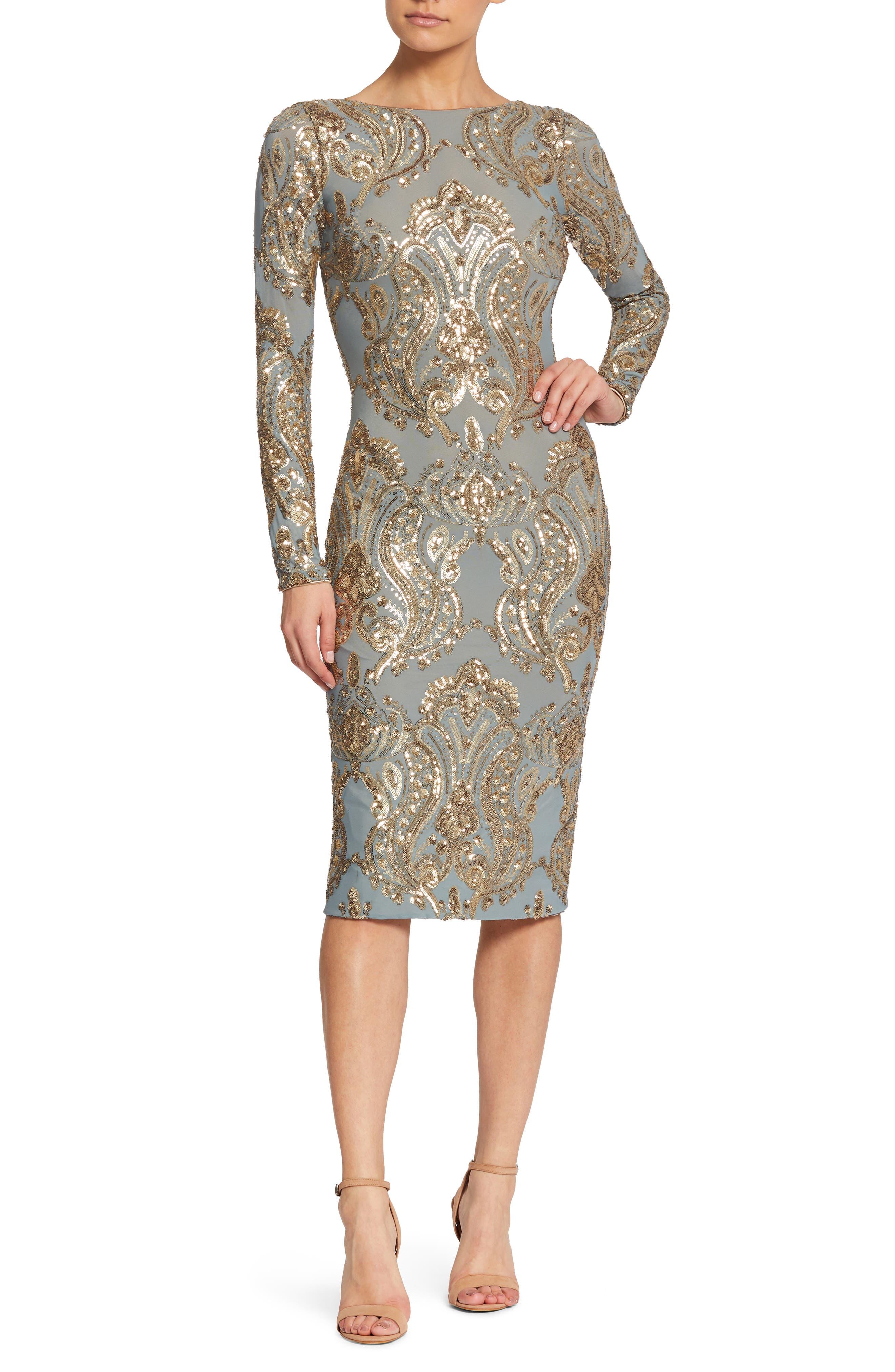 Emery Sequin Sheath Dress,                         Main,                         color, Teal/ Gold