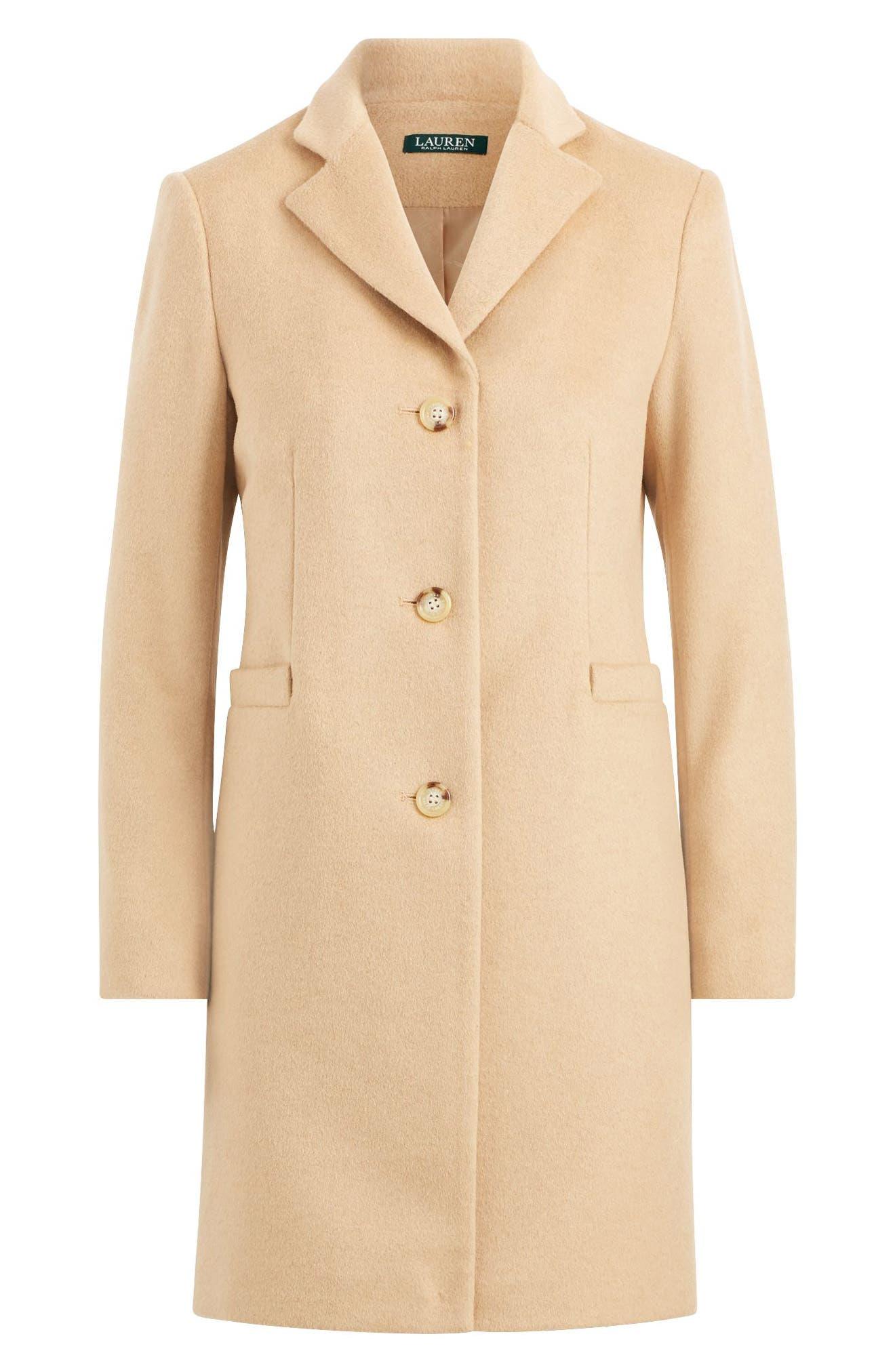 Wool Blend Reefer Coat,                             Alternate thumbnail 9, color,                             Camel