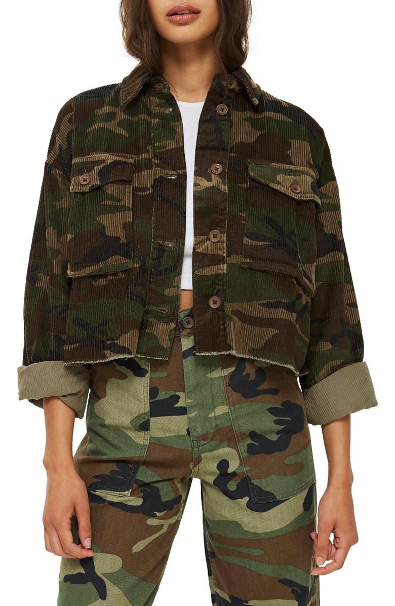 Camo Corduroy Crop Jacket | Nordstrom