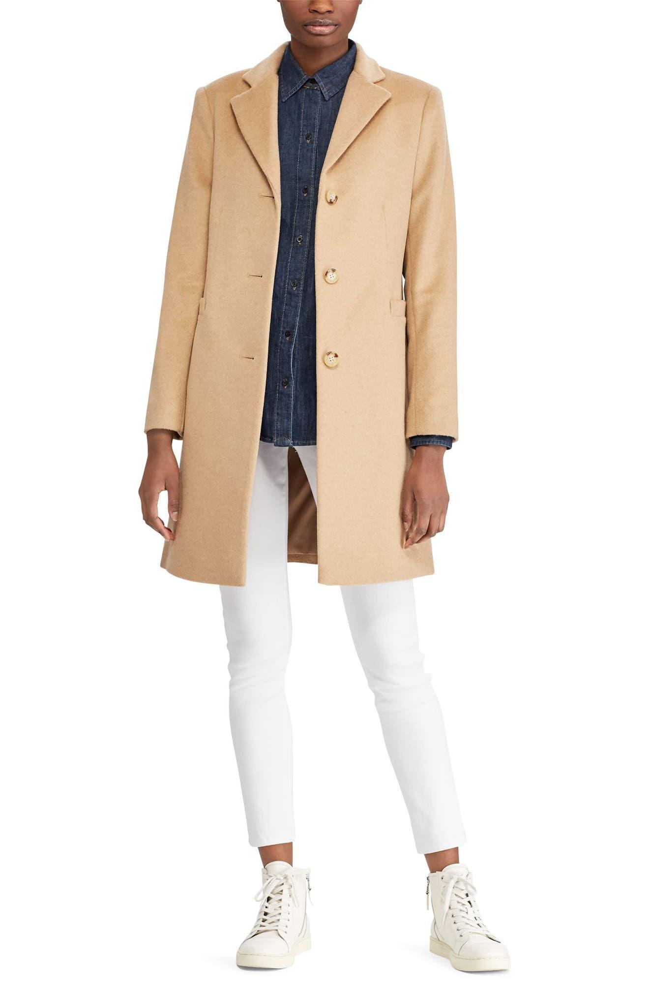 Wool Blend Reefer Coat,                             Alternate thumbnail 3, color,                             Camel