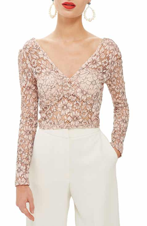 Topshop Lace Crop Plunge Top