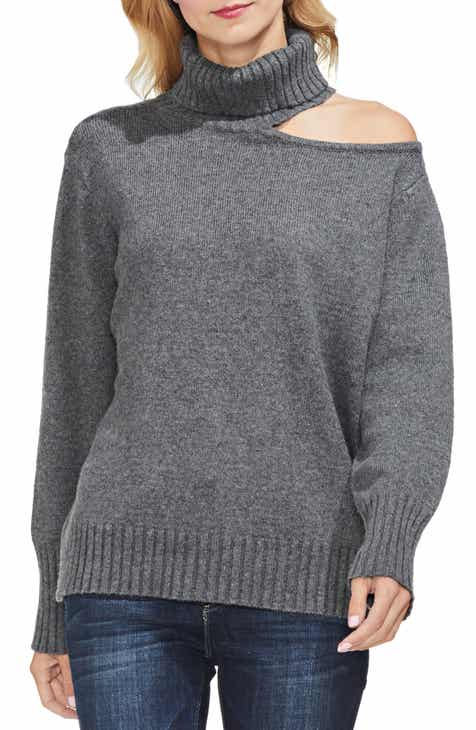 33b9899250a6f Vince Camuto Asymmetrical Shoulder Cutout Turtleneck Cotton Blend Sweater